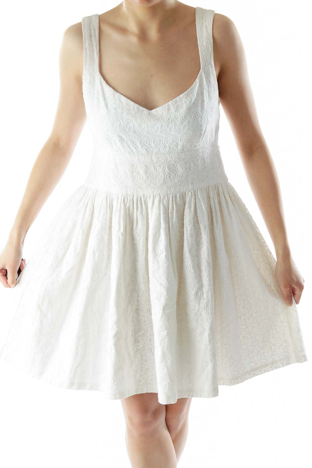 White Flower Flared Day Dress Front
