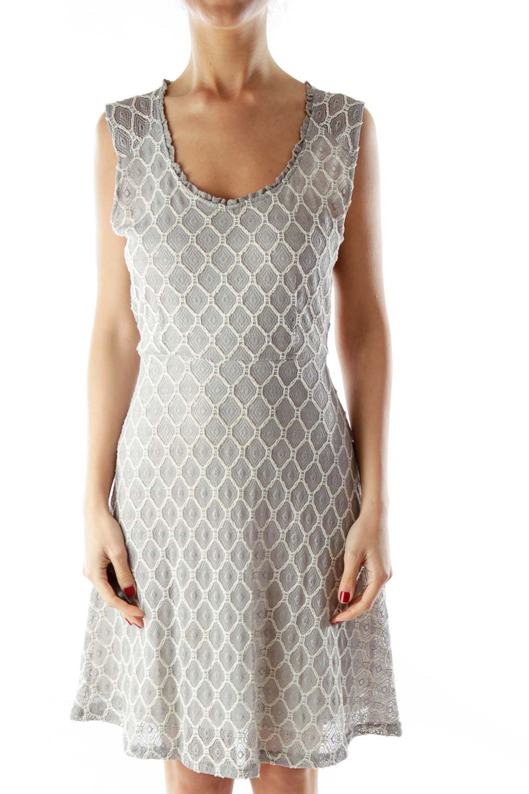 Gray Cream Lace Layered A-Line Dress Front