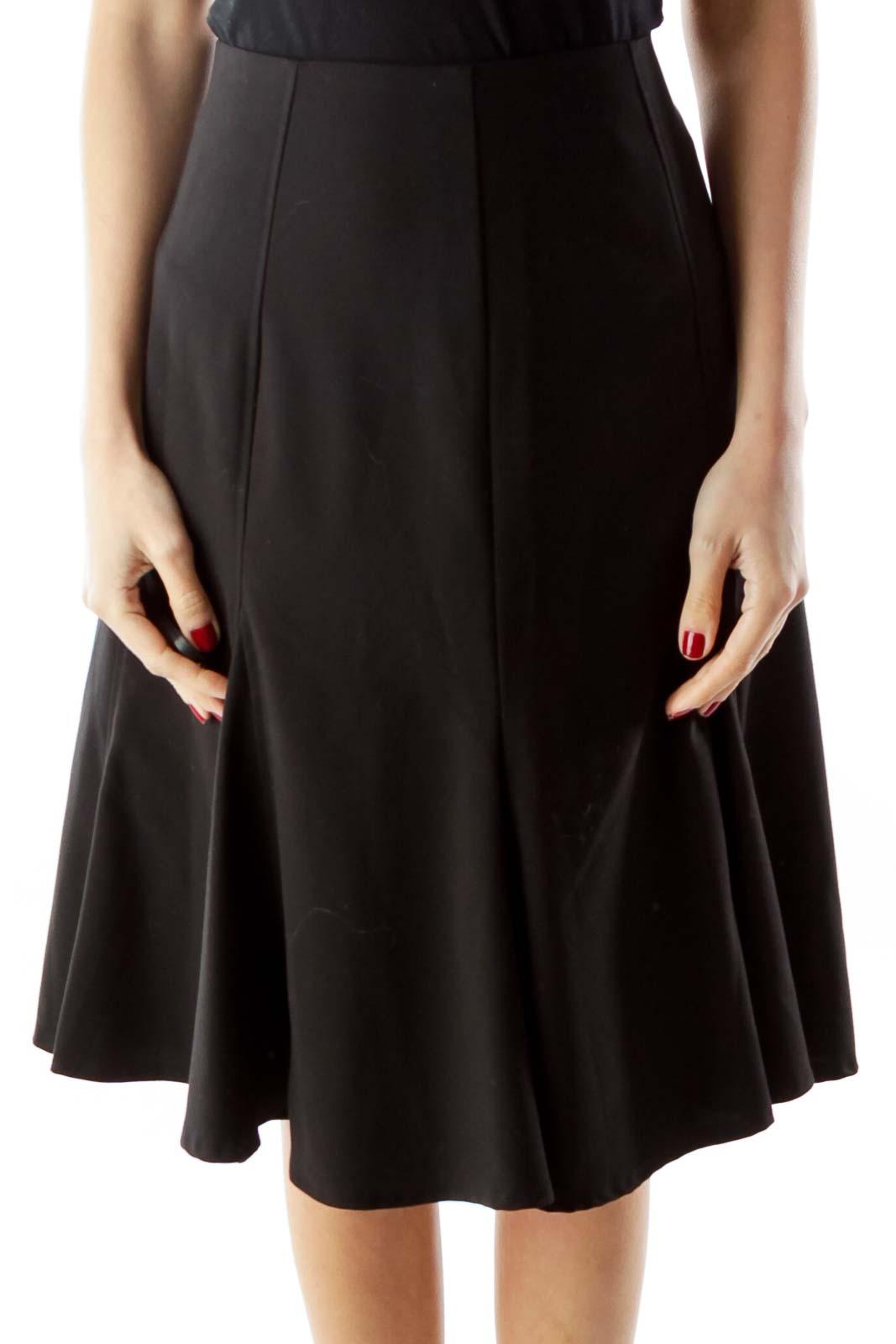 Black Flared Midi Skirt Front