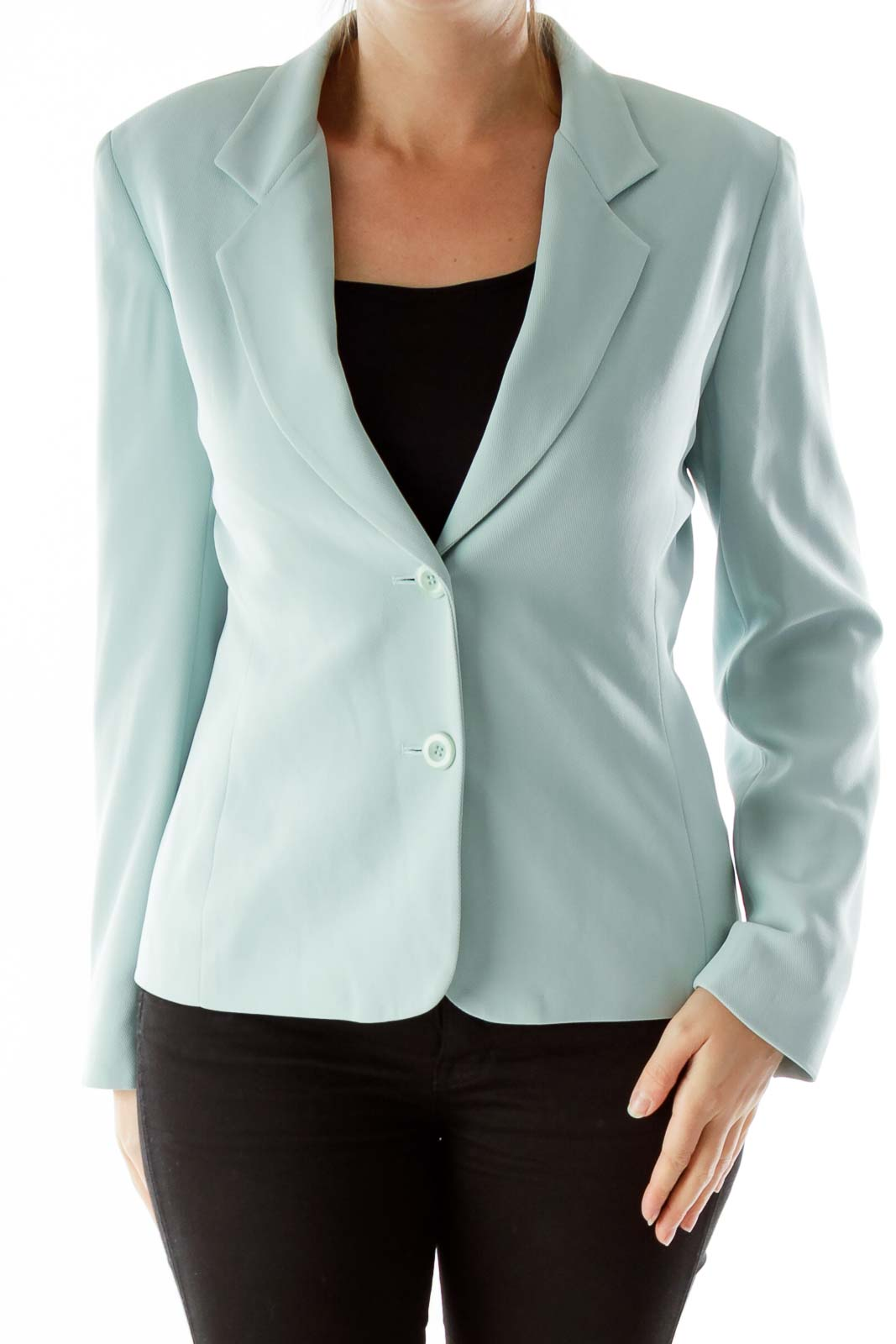 Mint Single-Breasted Suit Jacket Front