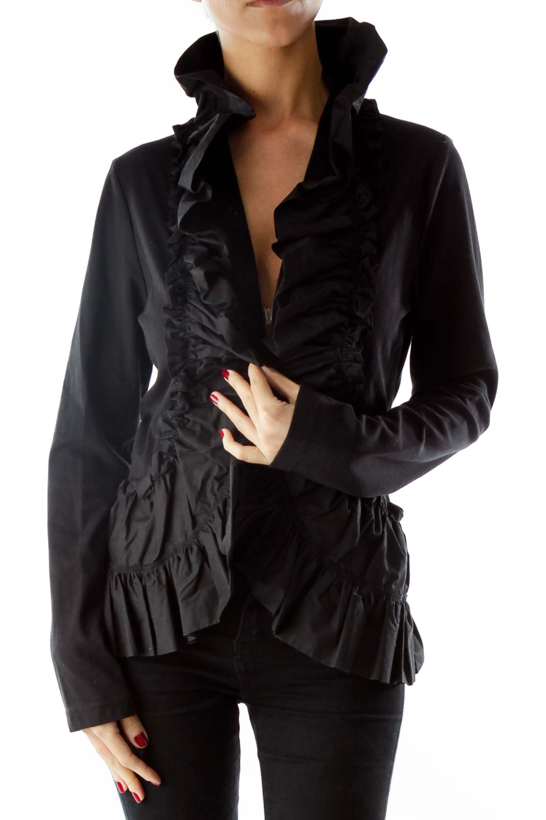 Black Ruffled Blouse Front