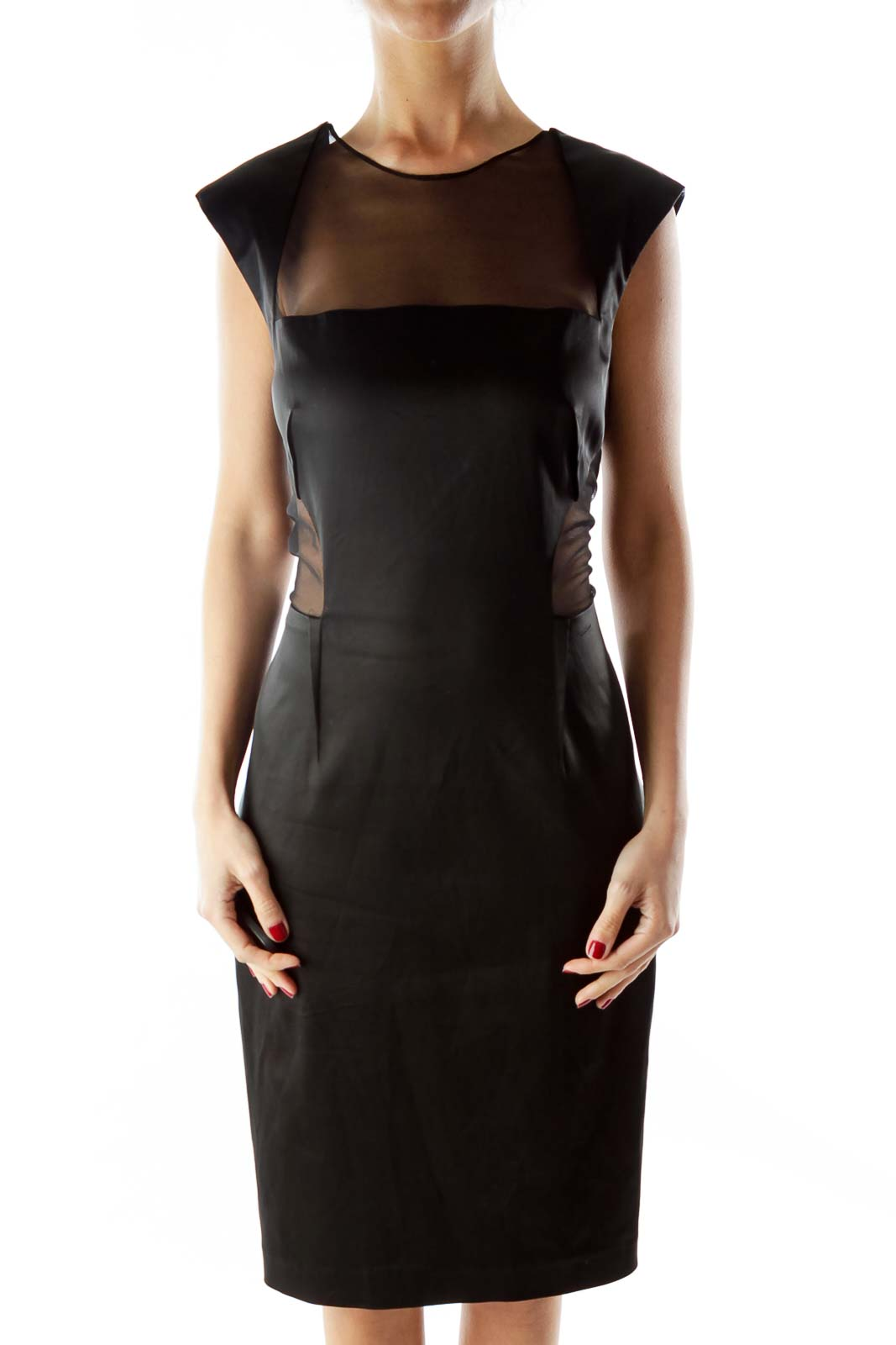 Black Fitted Mesh Dress Front