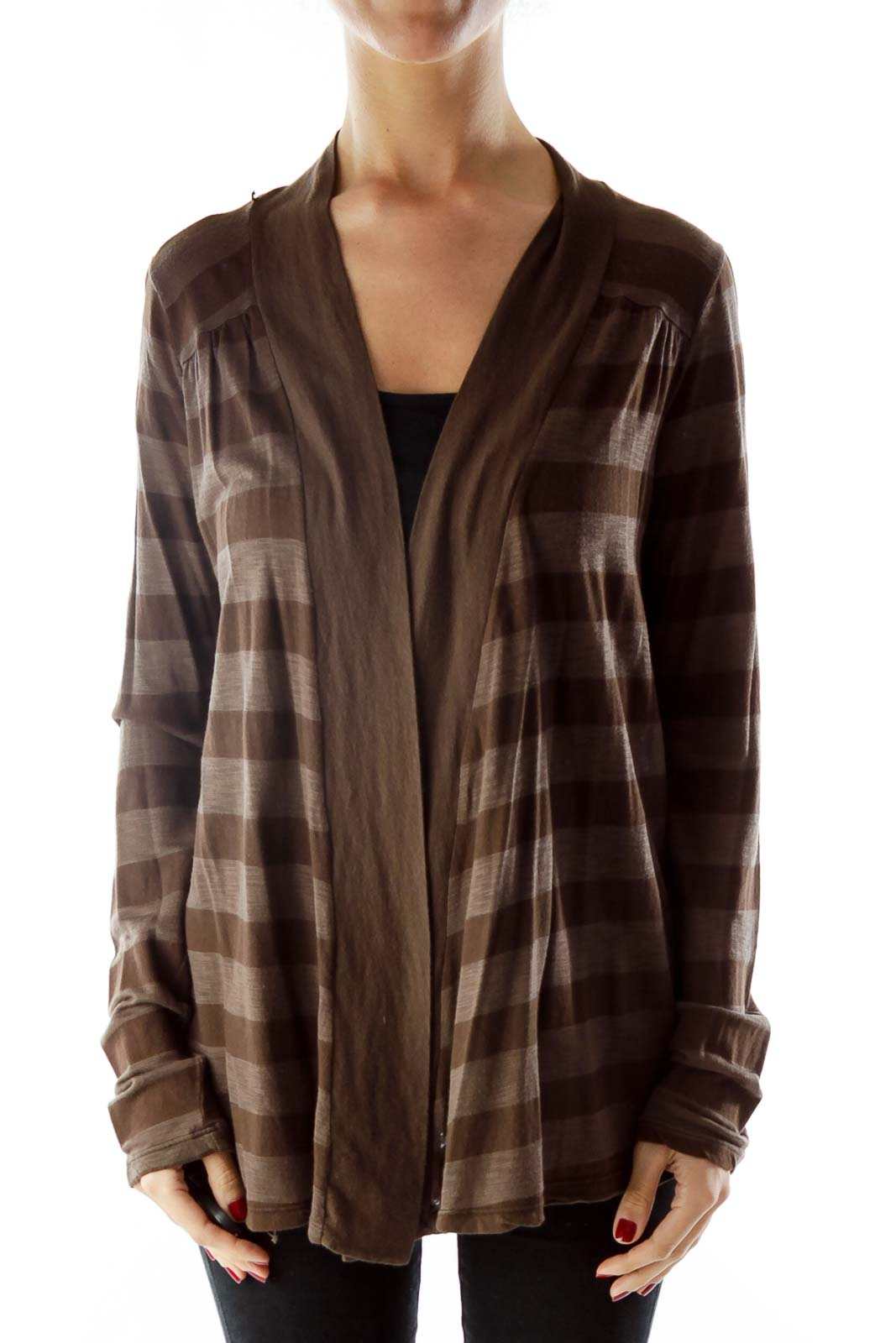 Brown Striped Cardigan Front