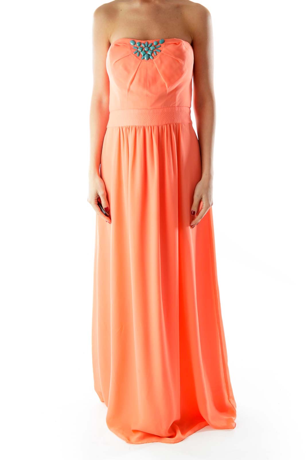 Teal Beaded Strapless Orange Floor length Dress Front