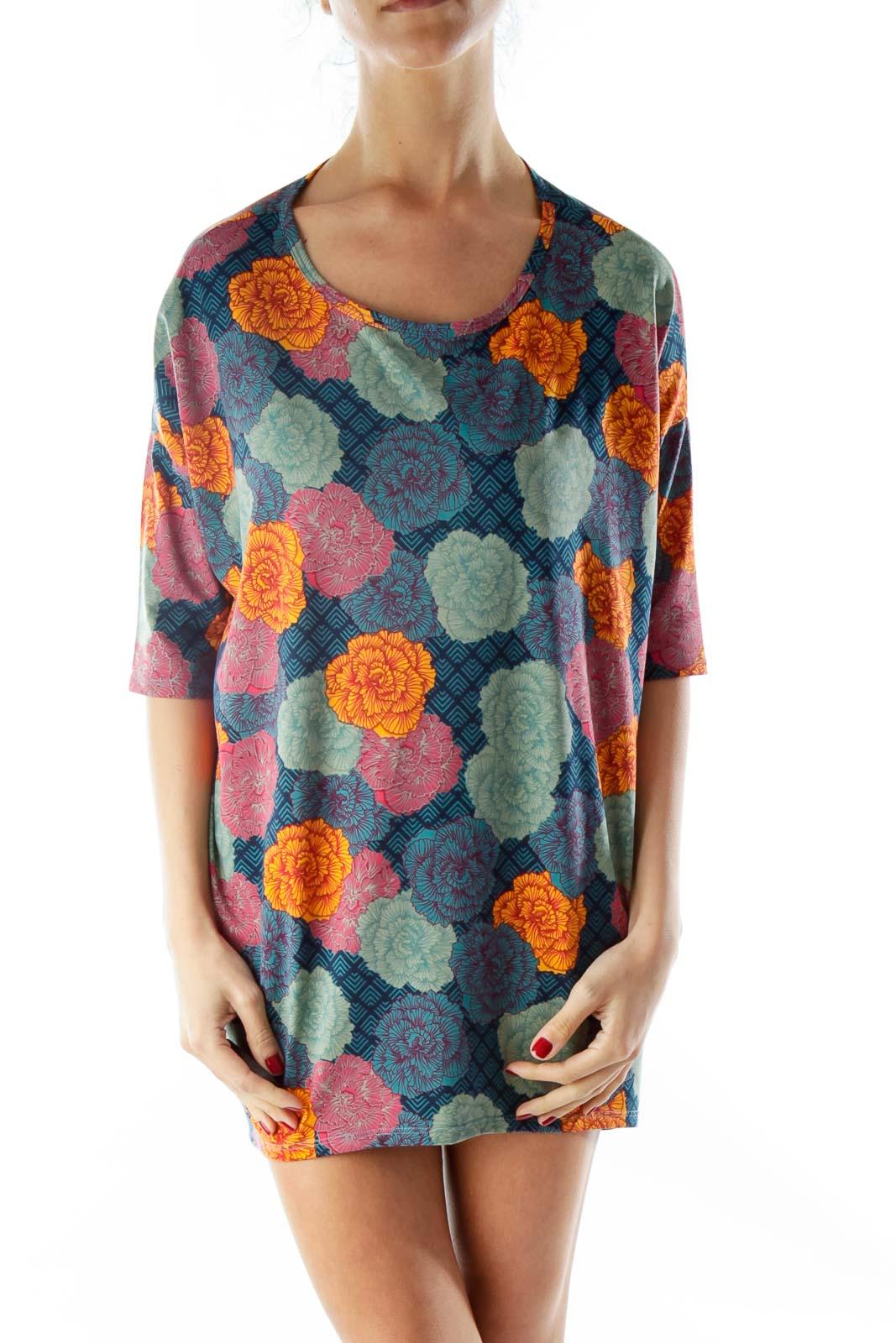 Multicolor Flower Print Tunics Front