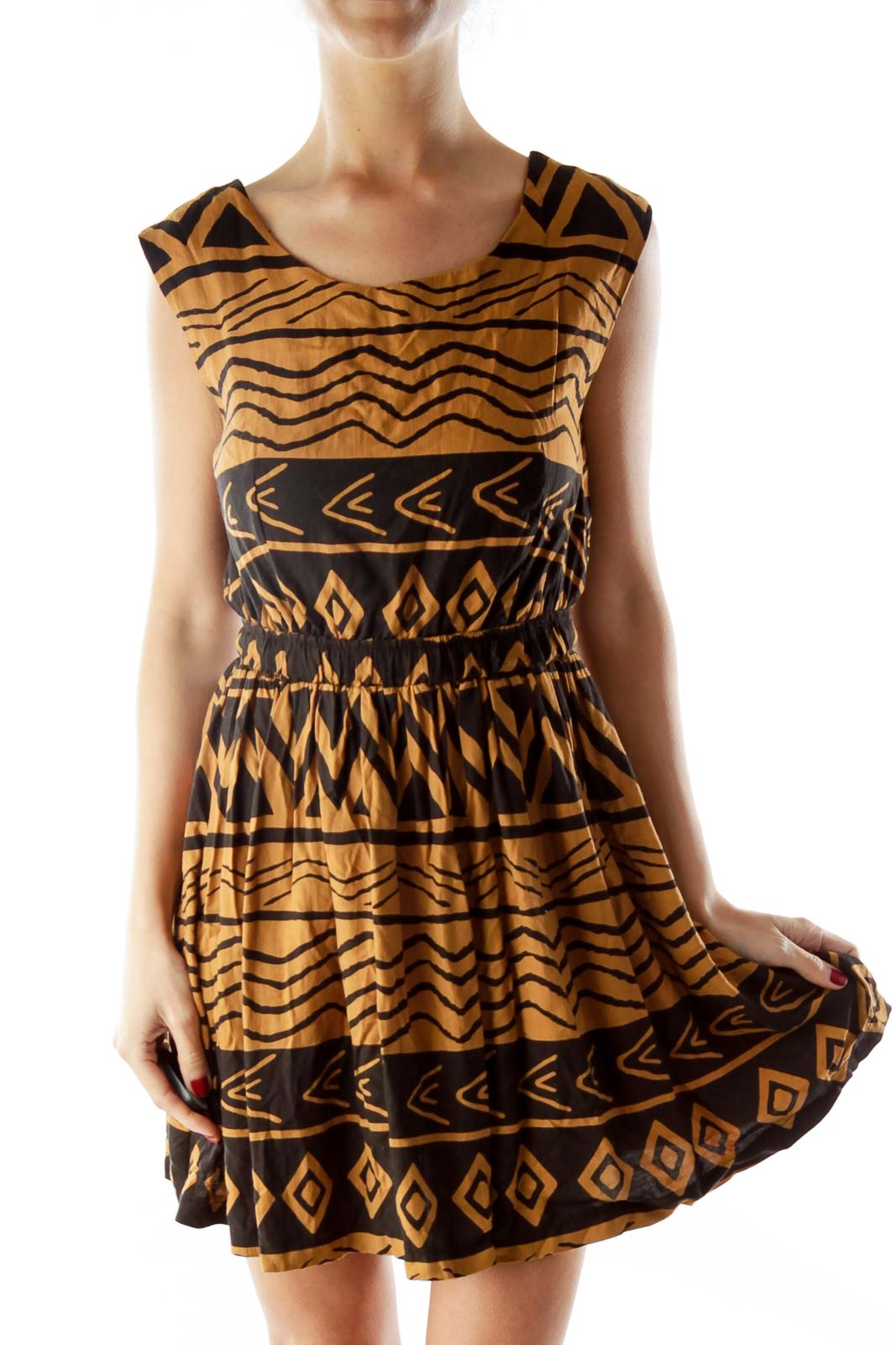 Brown Black Tribal Print Dress Front