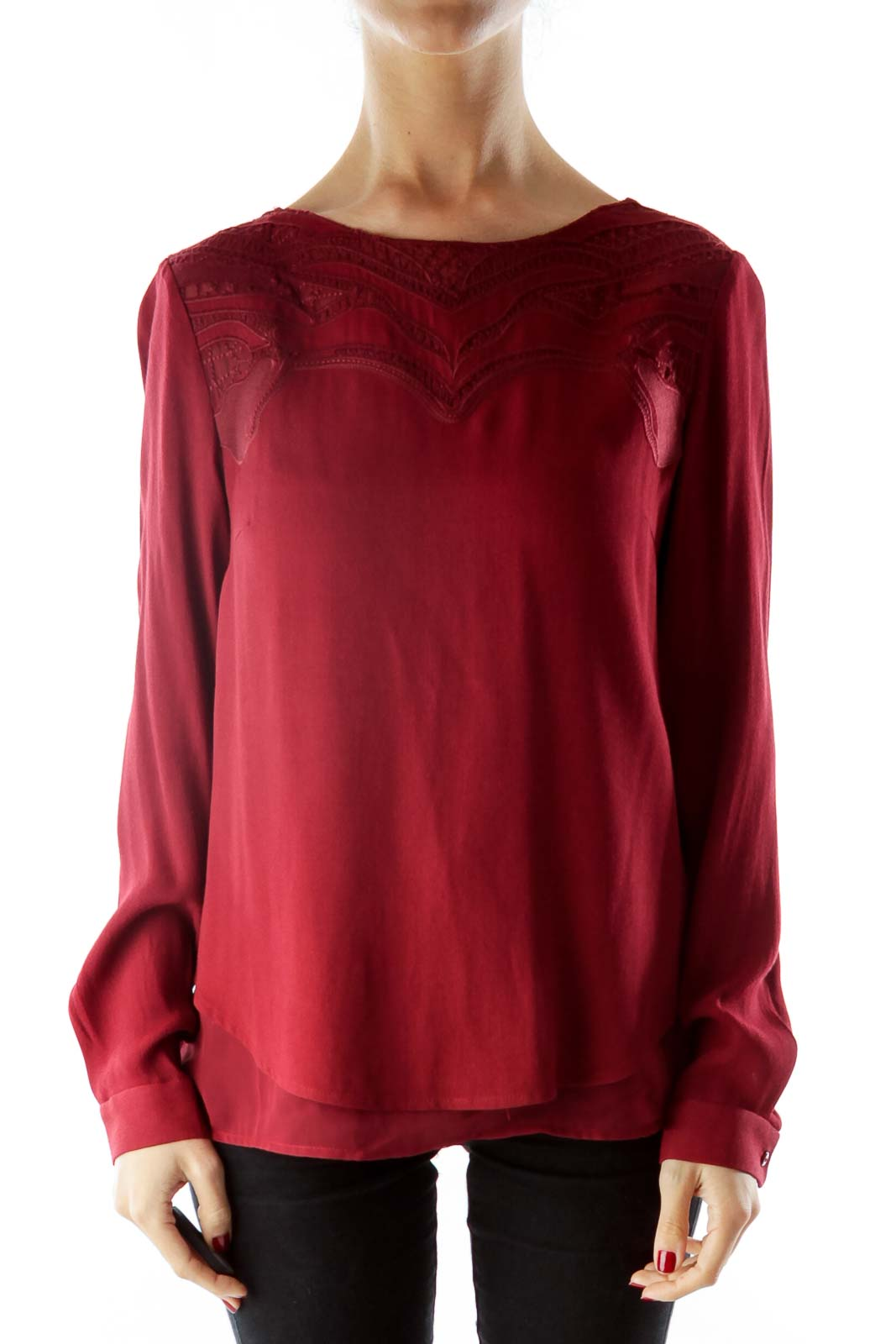 Embroidered Burgundy long sleeve top Front