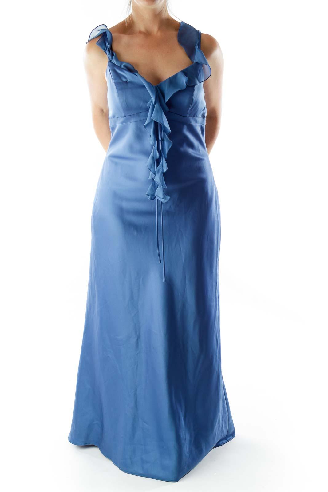 Blue V-Neck Ruffled Evening Dress Front