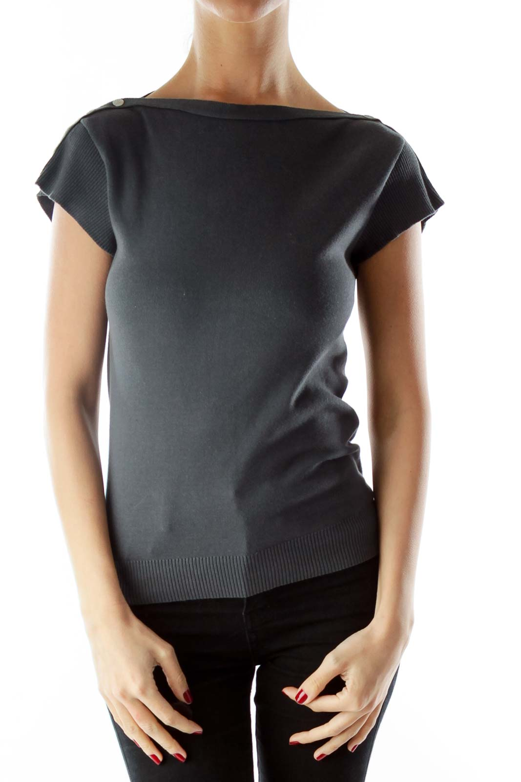Gray Buttoned Knit Top with Boat Neckline Front