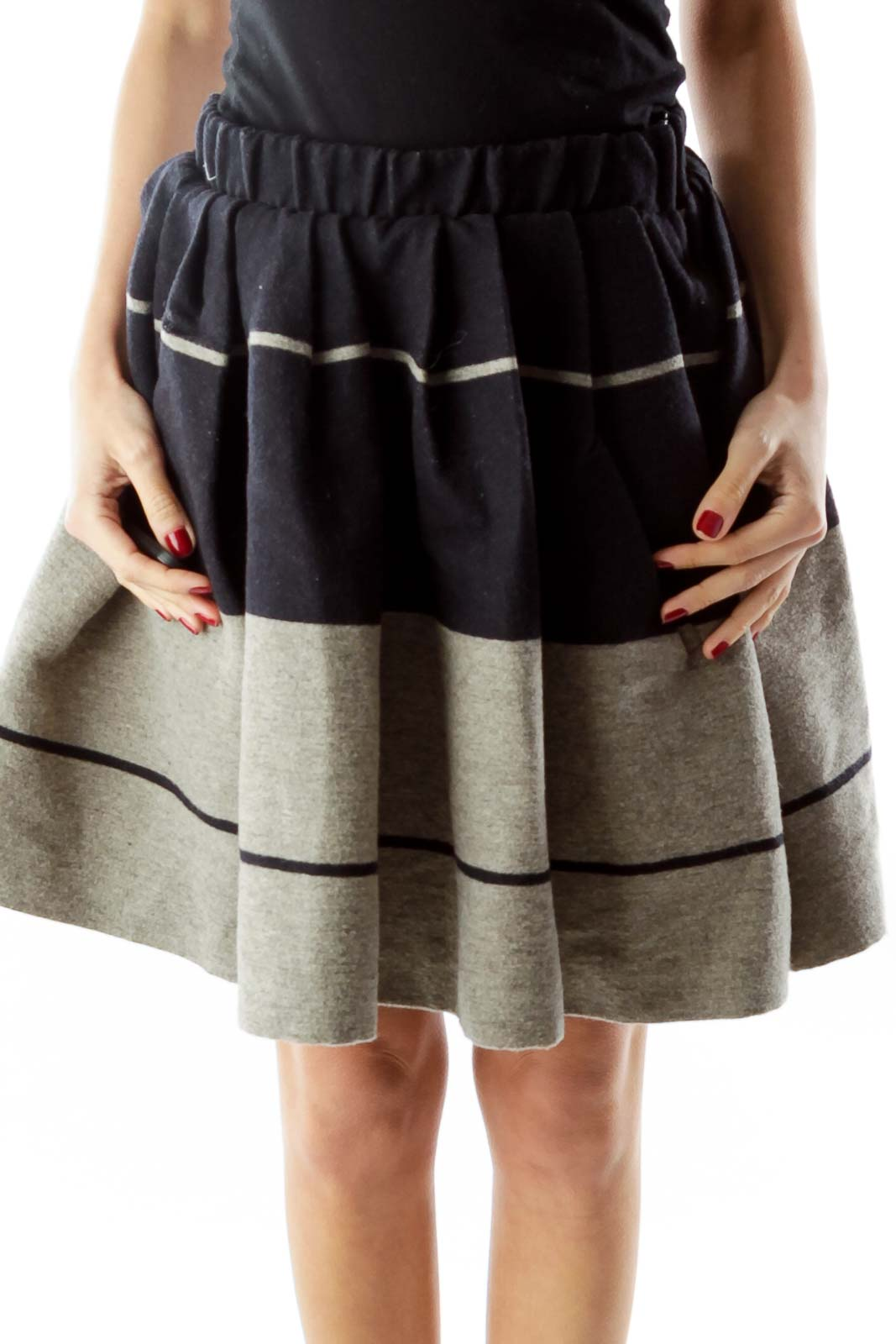 Navy Gray Wool Flared Skirt Front