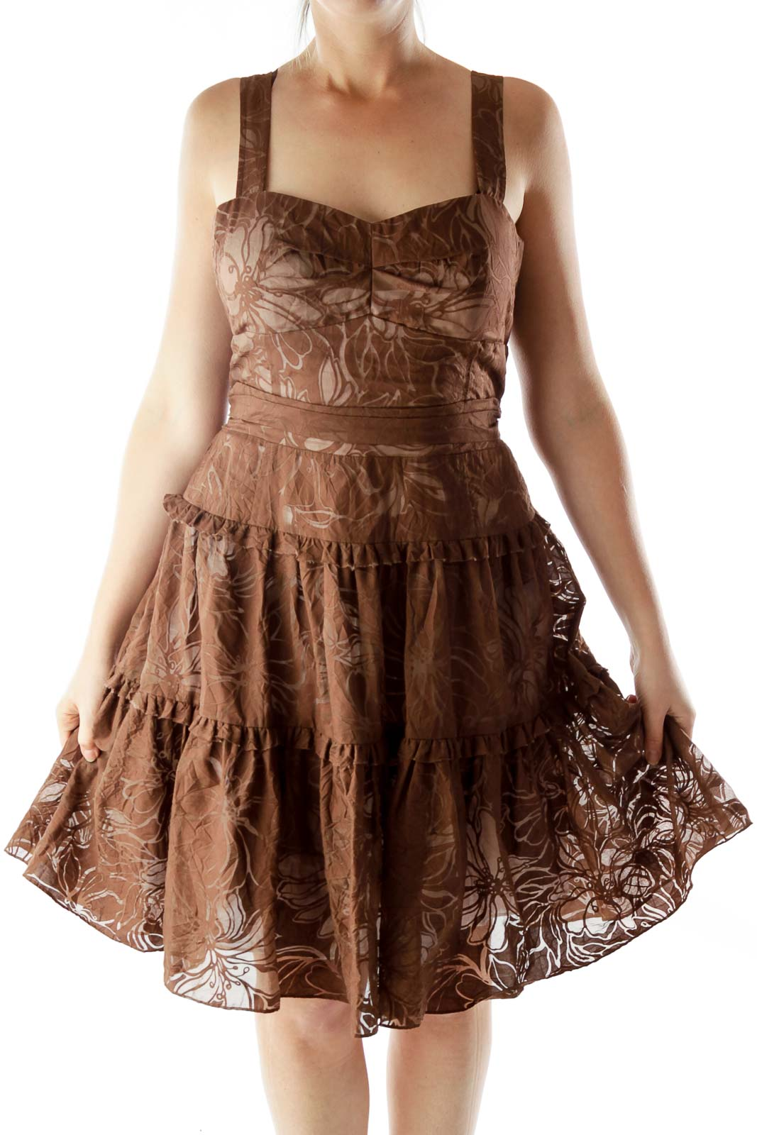 Brown Floral Pleated Layered Dress Front