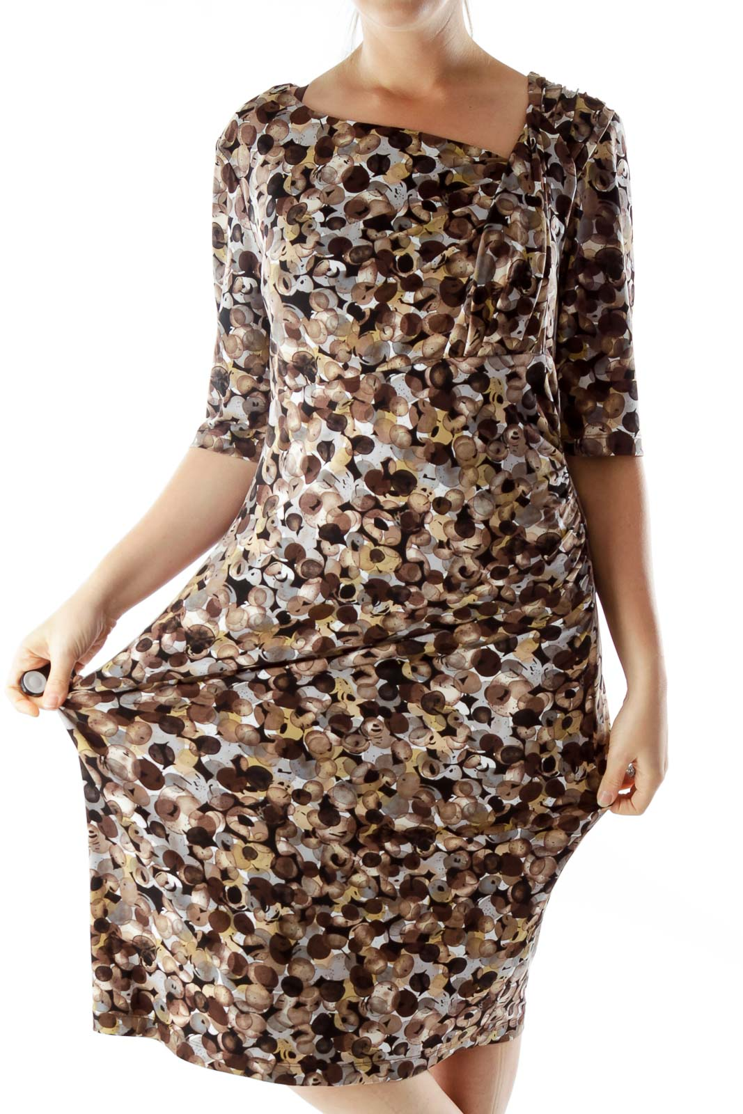 Multicolor Scrunched Print Dress Front