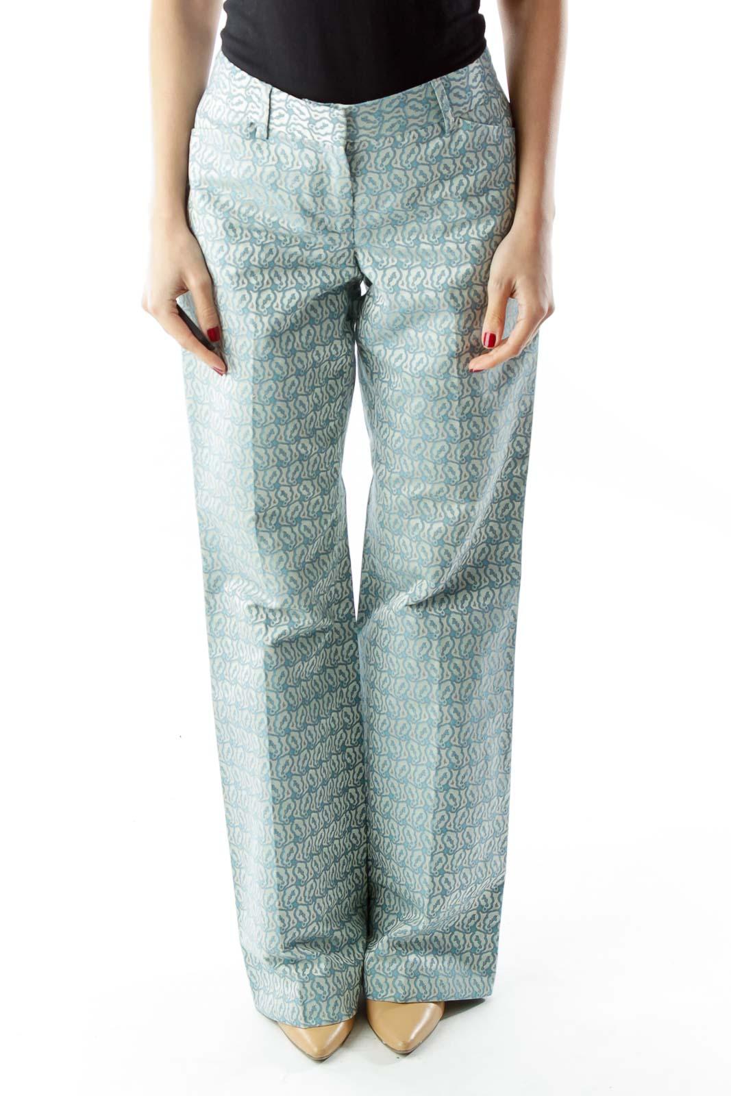 Blue Print Wide-Leg Pants Front