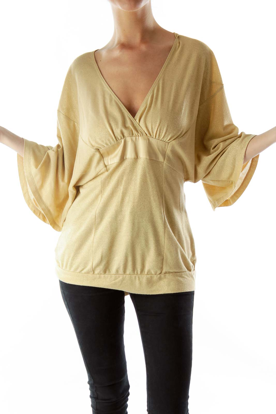 Gold Metallic Knit Top with Sash Front