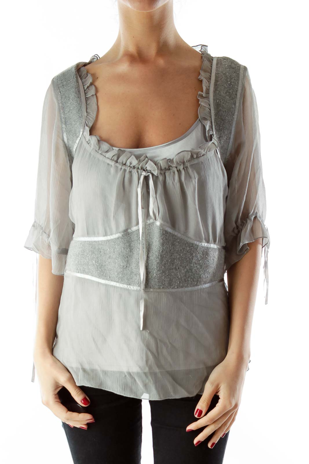 Gray Wool Silk Layered Blouse with Sash Front