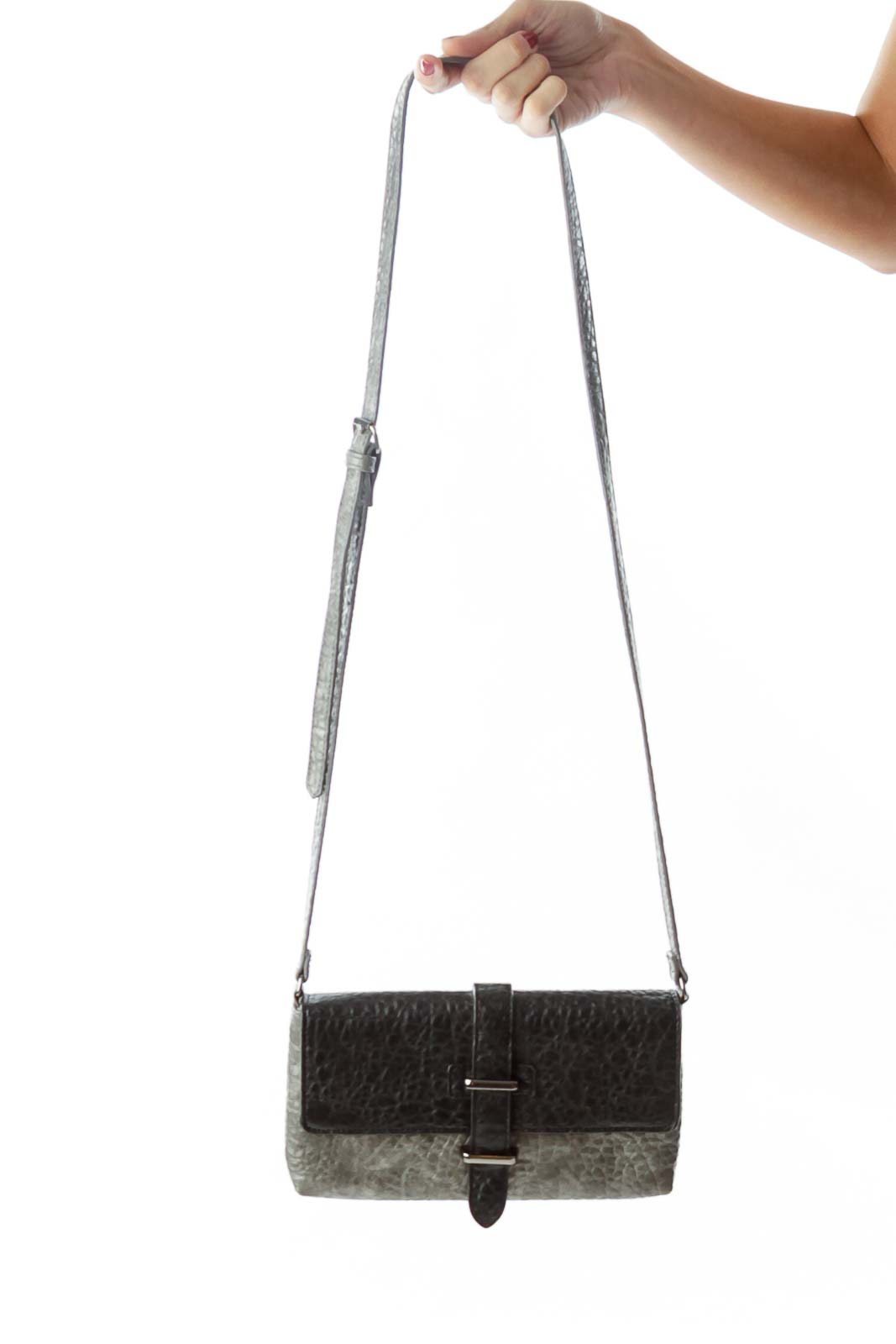 Gray Textured Crossbody Bag Front