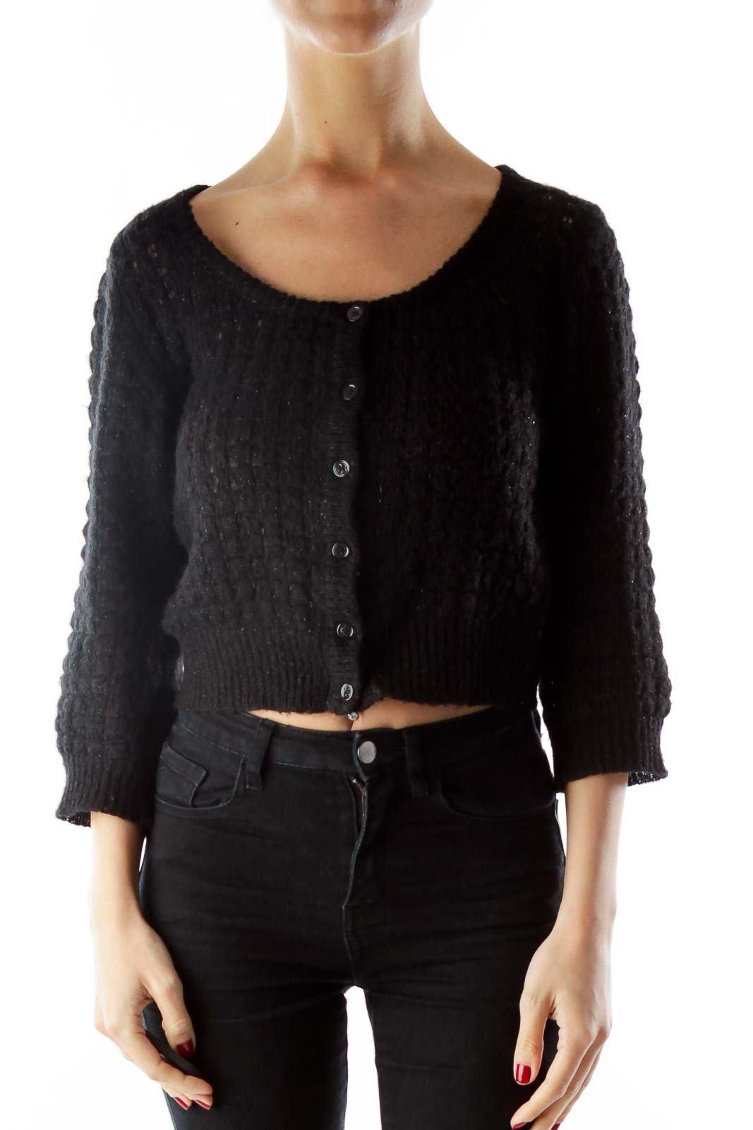 Black Sparkle Mid-Sleeve Cardigan Front