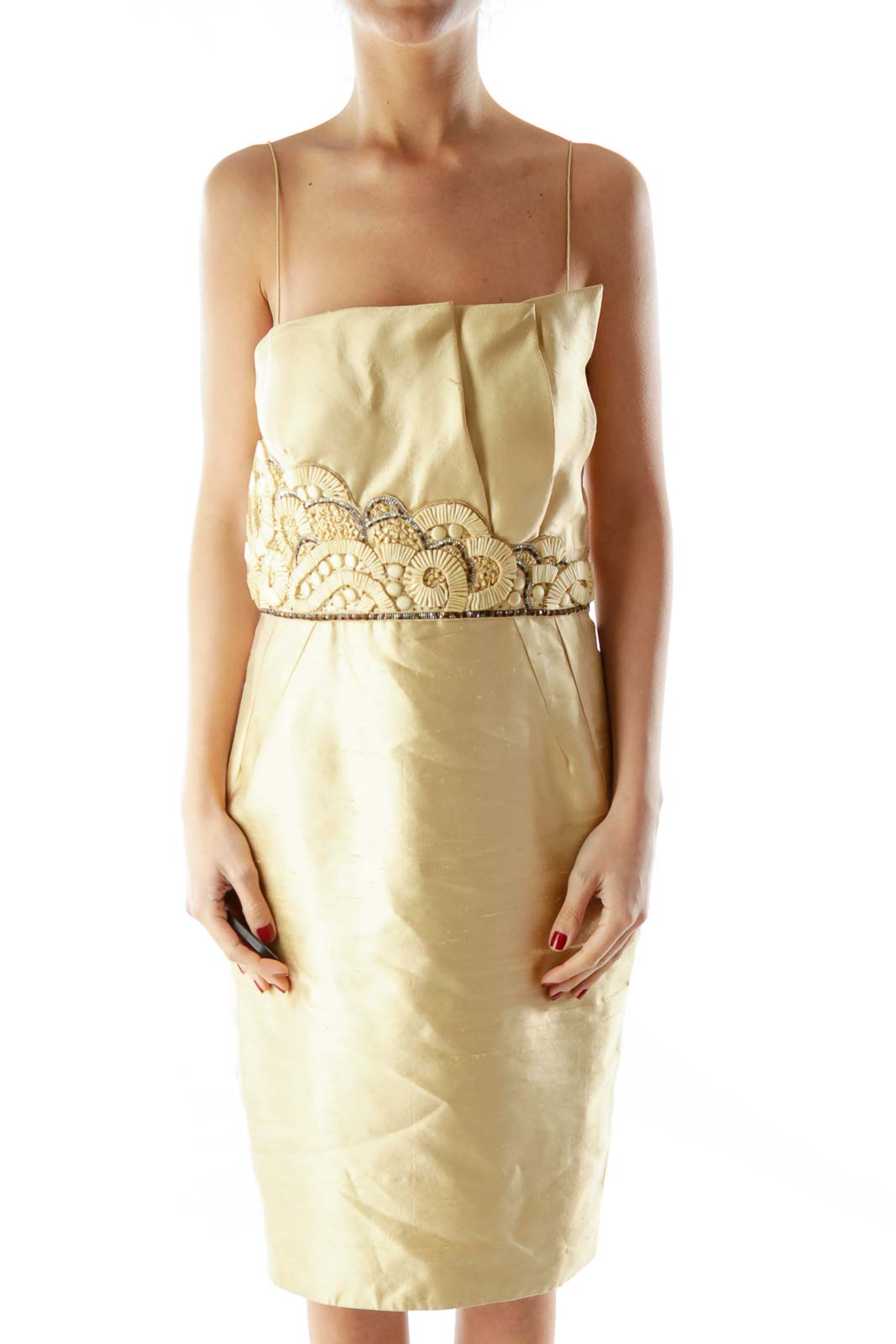 Gold Strapless Beaded Textured Dress Front