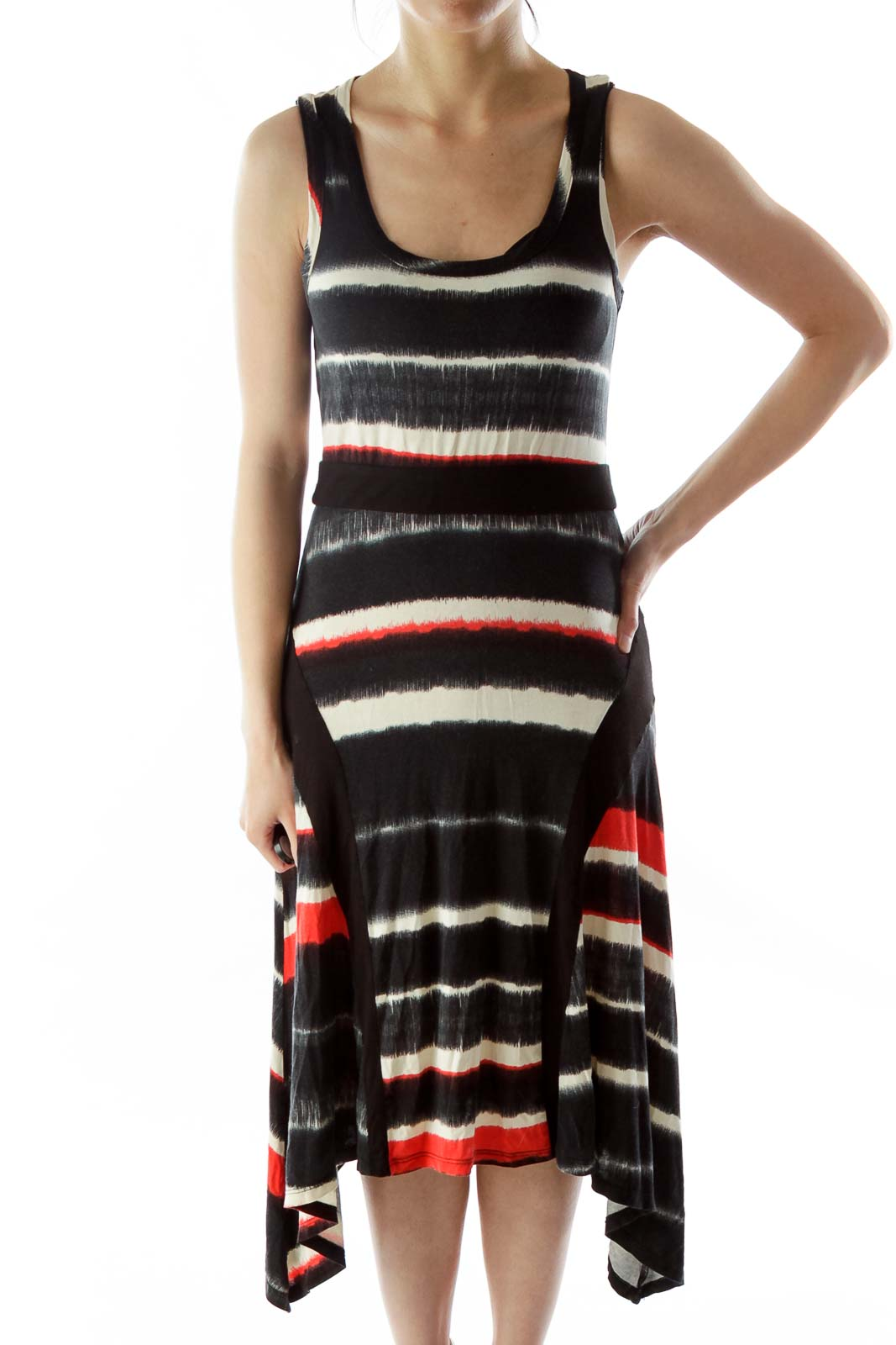 Black White Red Color Block Day Dress Front
