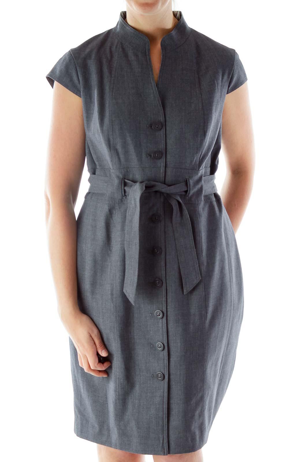 Gray Buttoned V-Neck Belted Work Dress Front