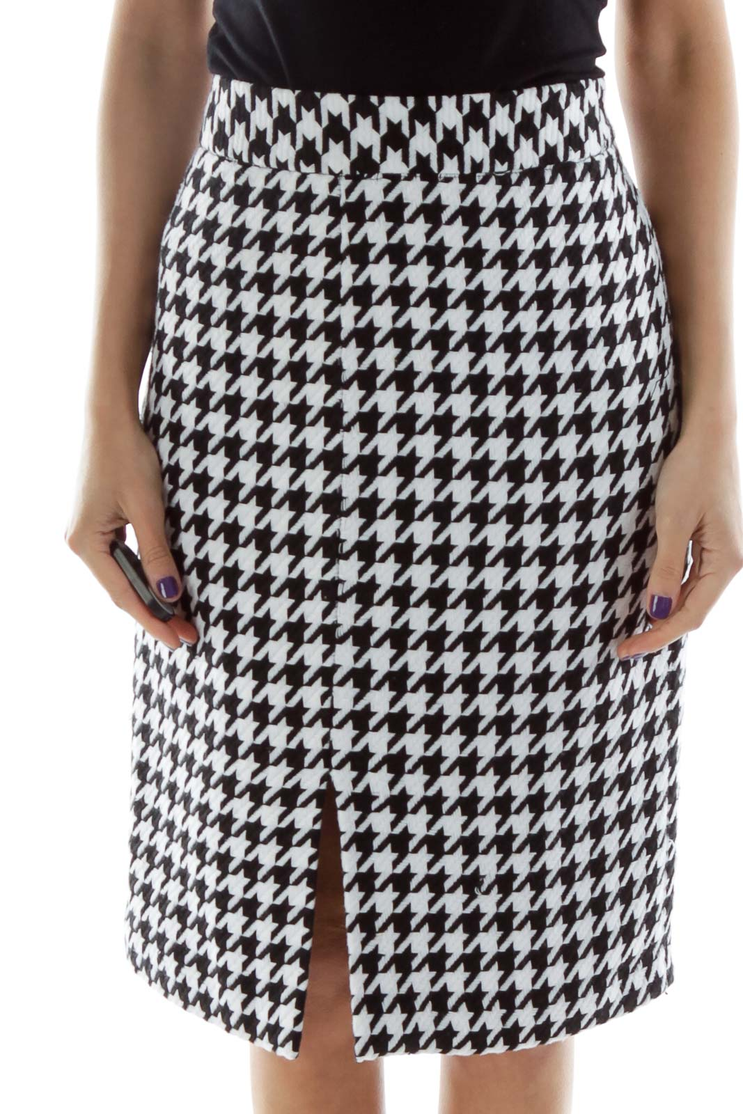 Black White Houndstooth Pencil Skirt Front