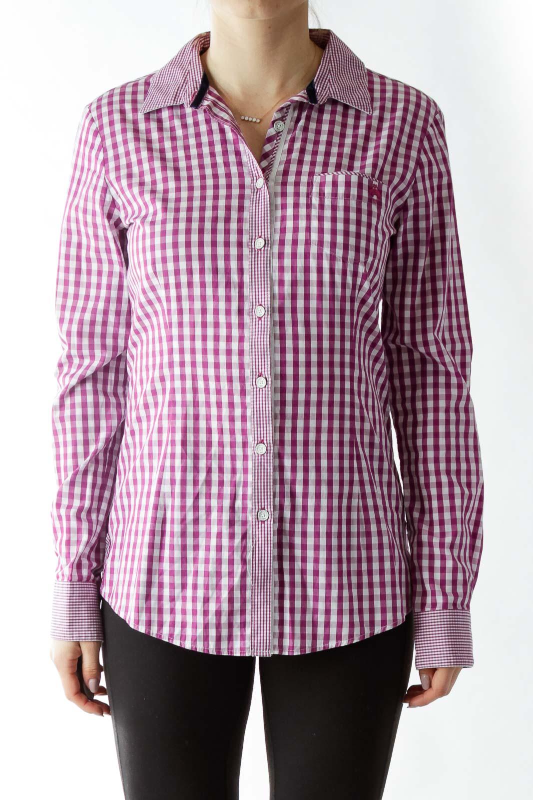 Purple White Gingham Shirt Front