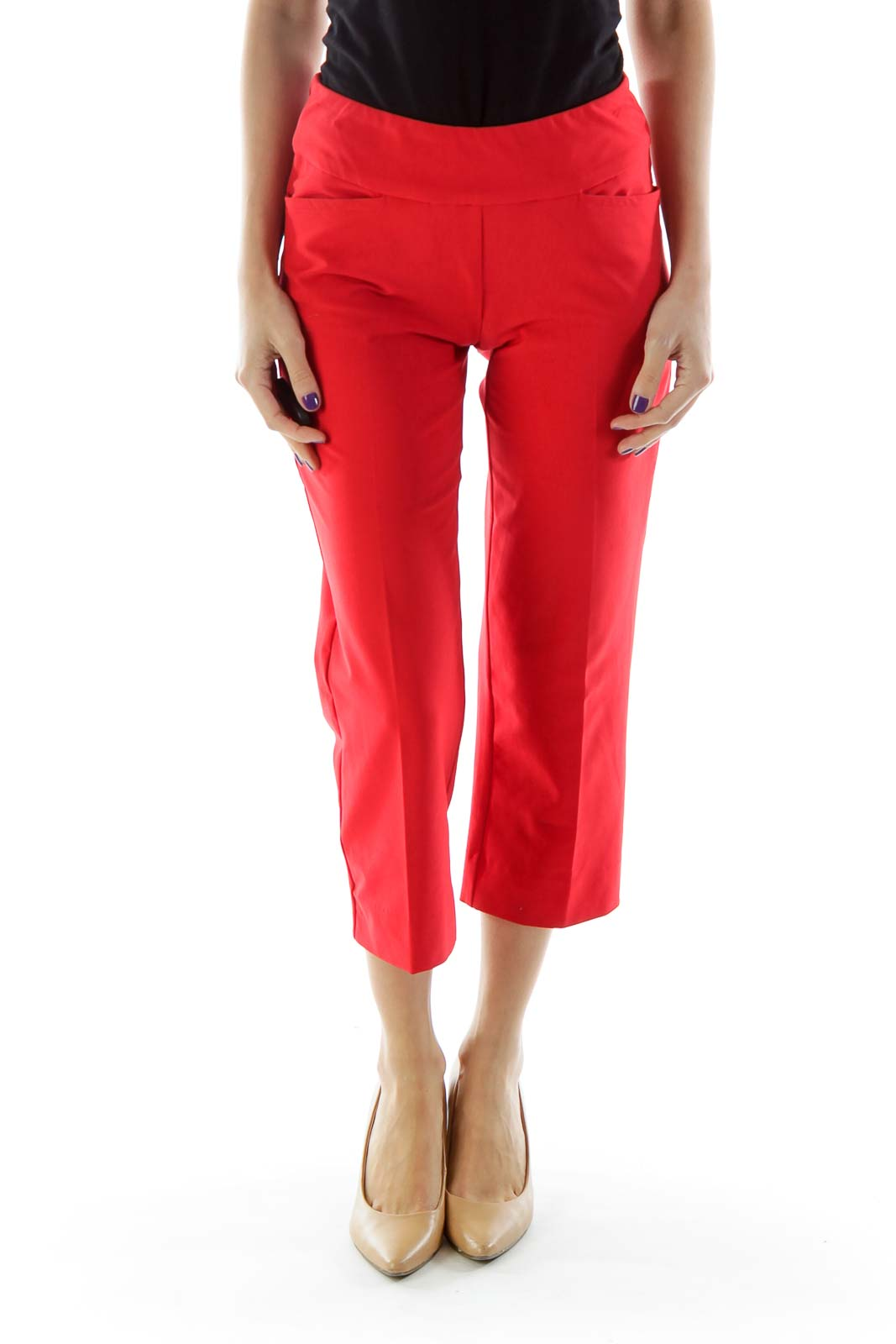 Red Pocketed Cropped Pants with Elastic Waistband Front