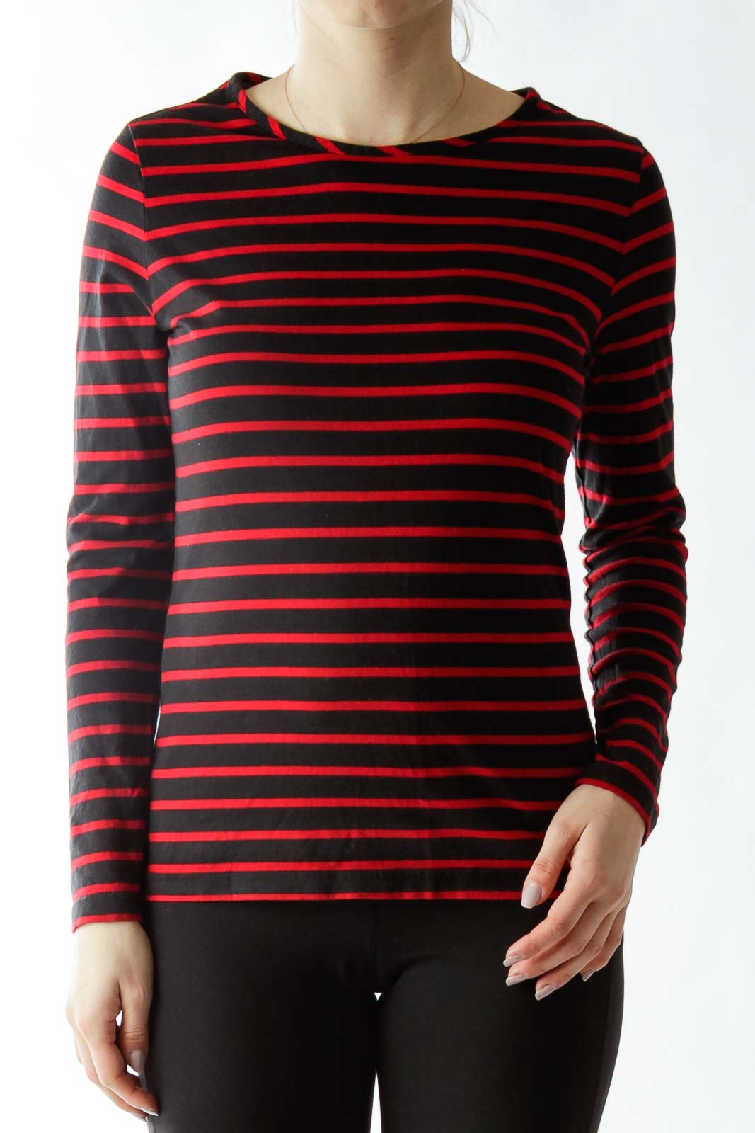 Black Red Striped T-Shirt Front