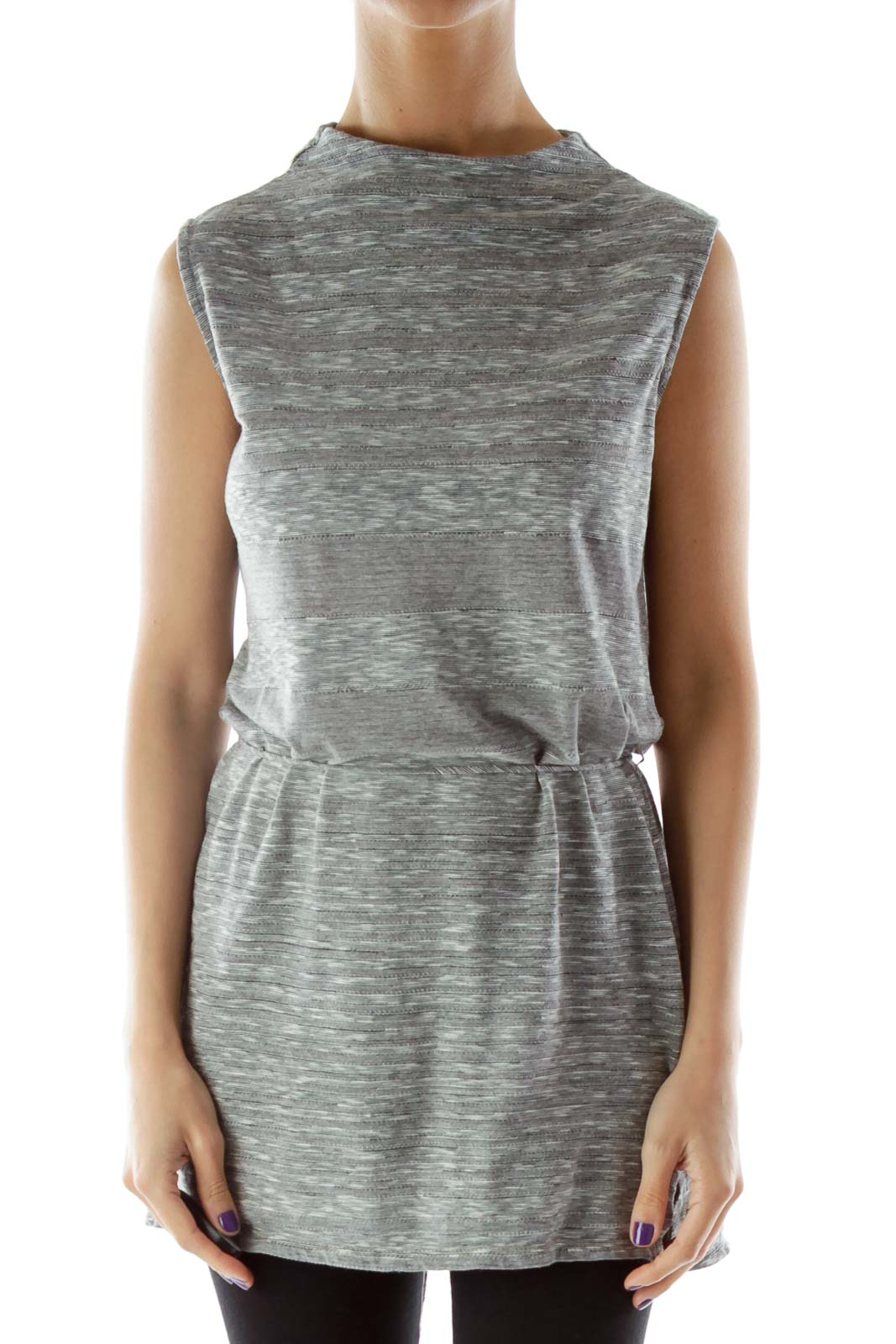 Gray Slitted Sleeveless Blouse with High Neck Front