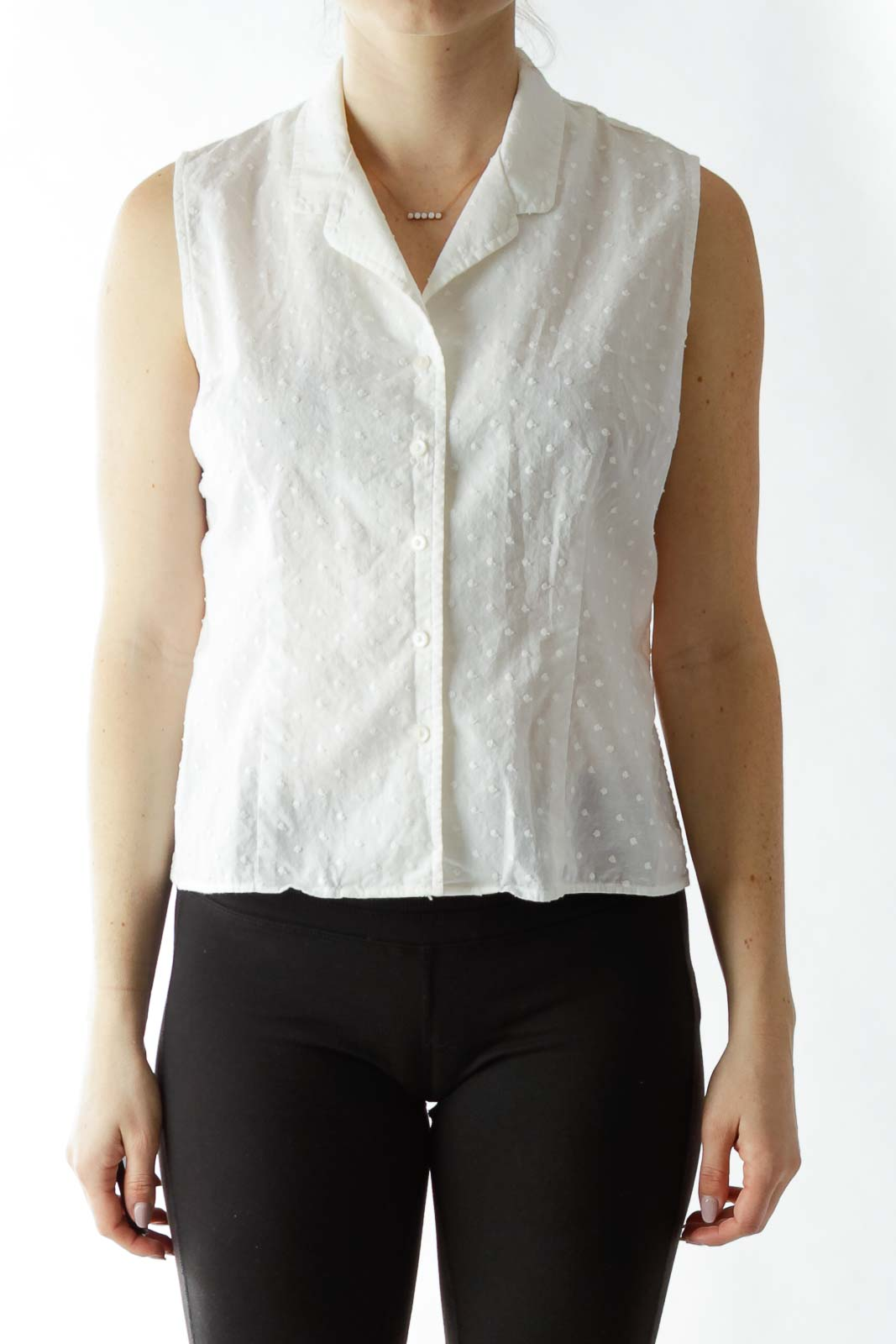 White Sleeveless Blouse with Textured Dot Details Front