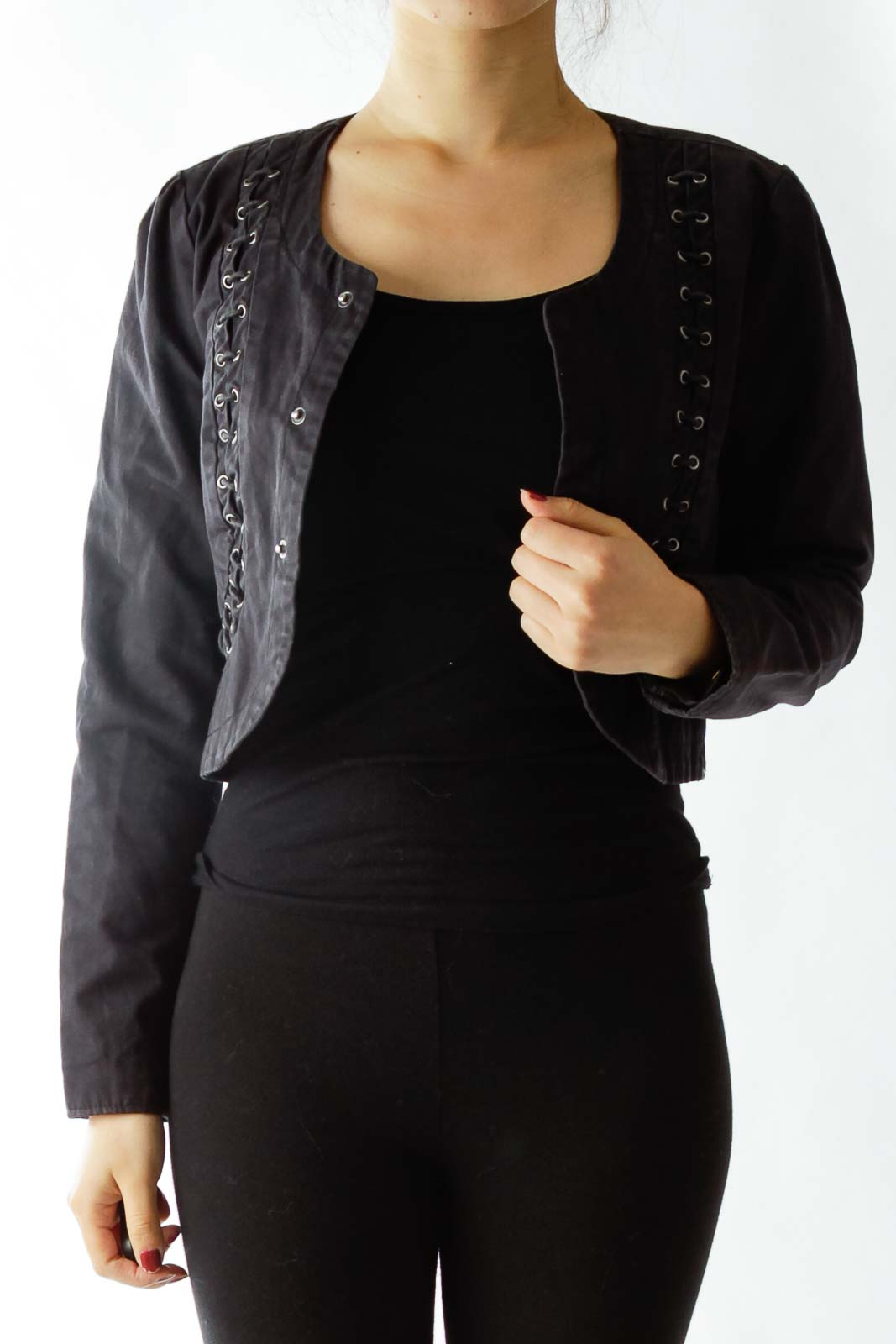 Black Buttoned Cropped Jacket with String Details Front