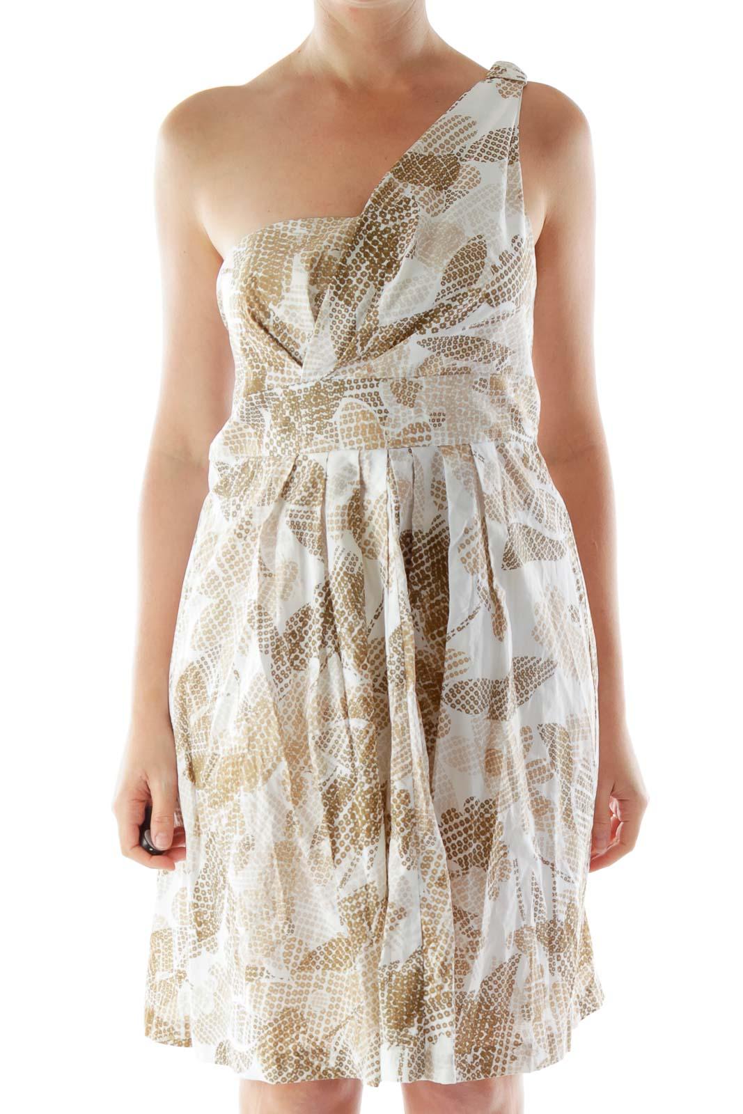 Brown Beige Cream One-Shoulder Flared Dress Front