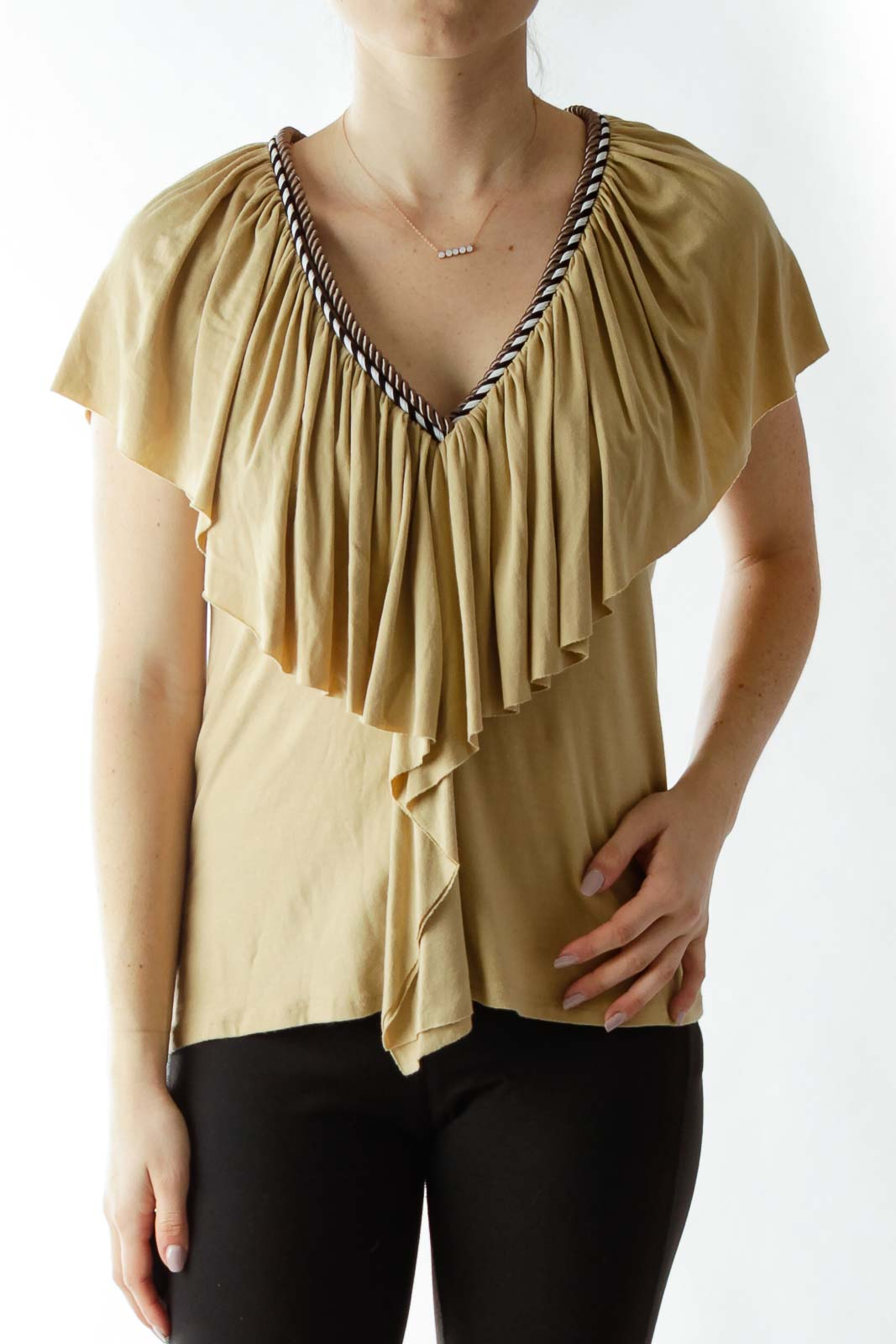 Beige Ruffled Top with Neck Rope Detailing Front