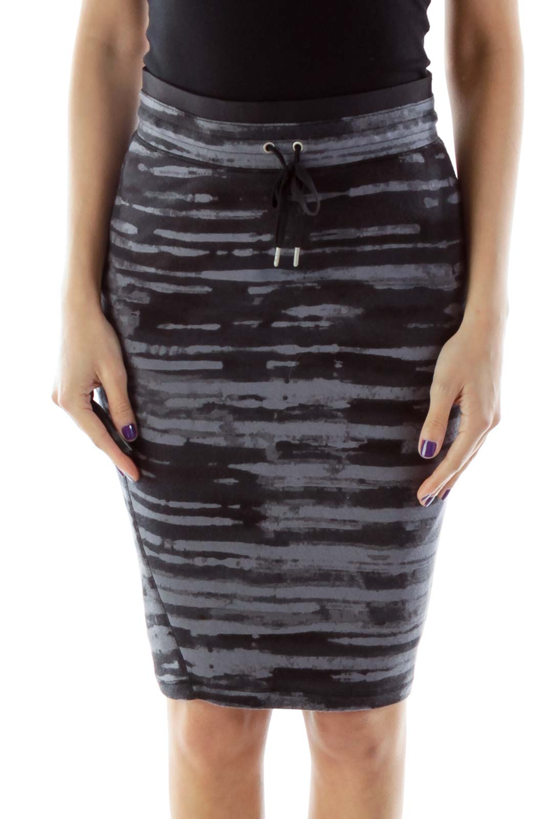 Black and Gray Stripped Athletic Skirt Front