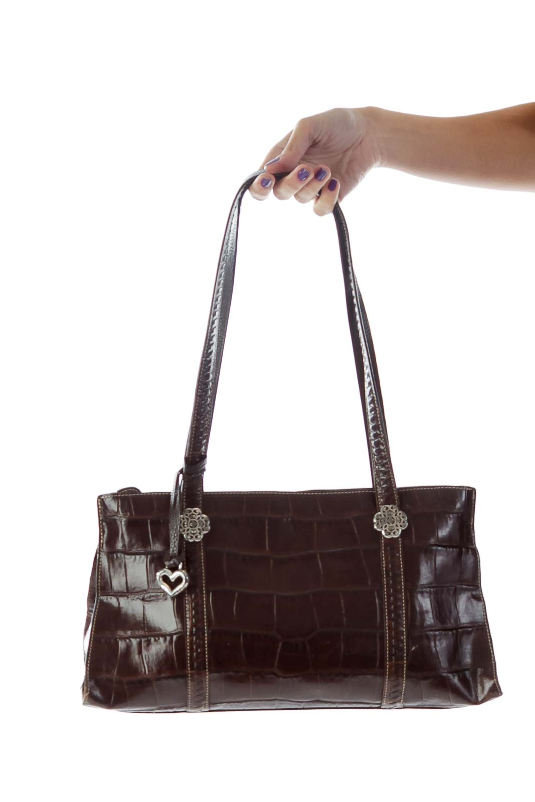 Brown Alligator Bag Front