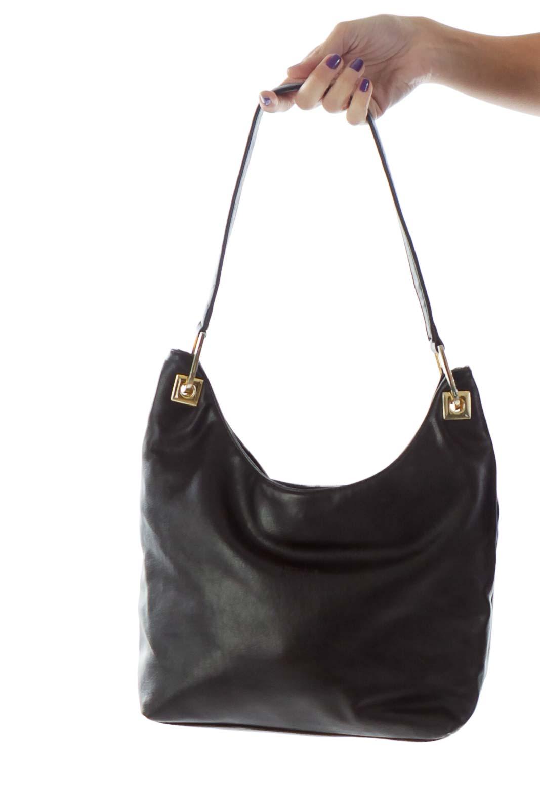 Black Leather Hobo Shoulder Bag Front