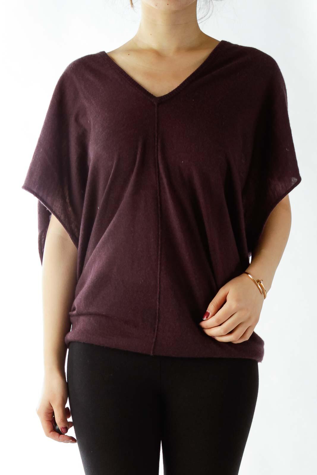 Purple V-Neck Loose Cashmere Top Front