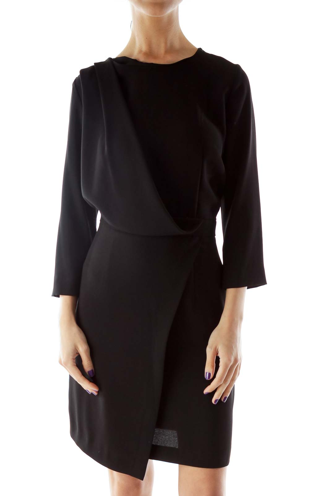 Black Three-Quarter Sleeve Dress with Wrap Detail Front
