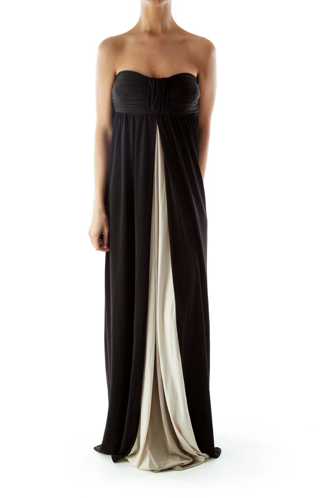 Black Strapless Color Block Evening Dress Front
