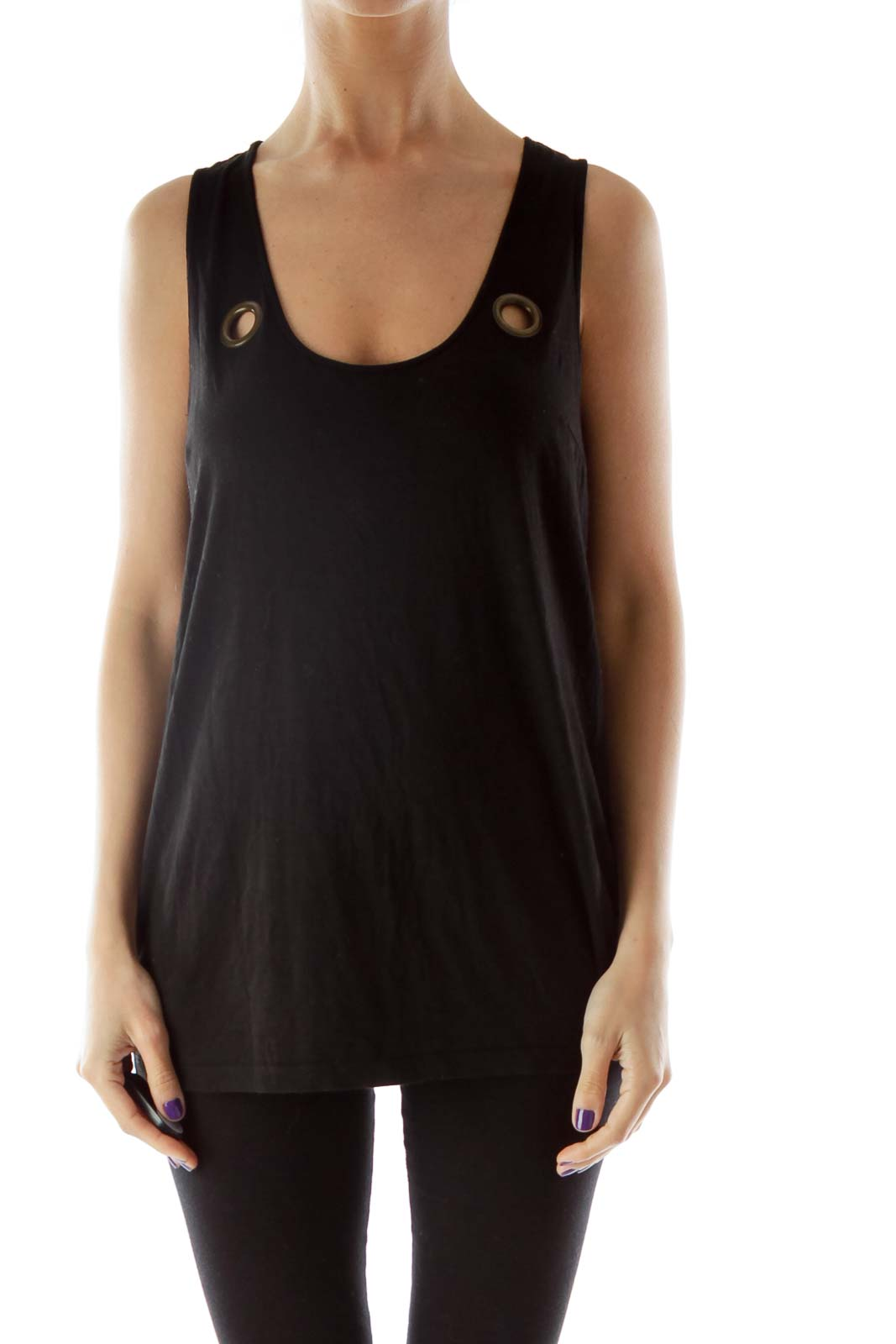 Black Tank Top with Hole Detailing Front