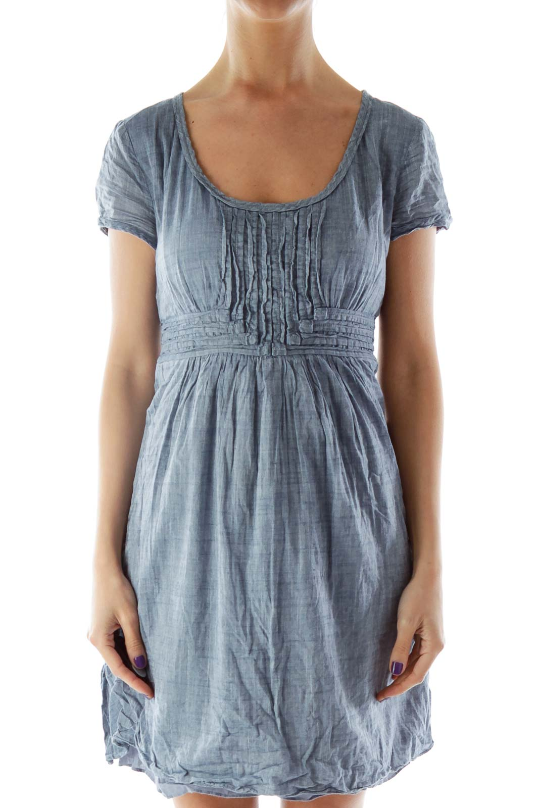 Blue Dress with Stitched Layering Detail Front