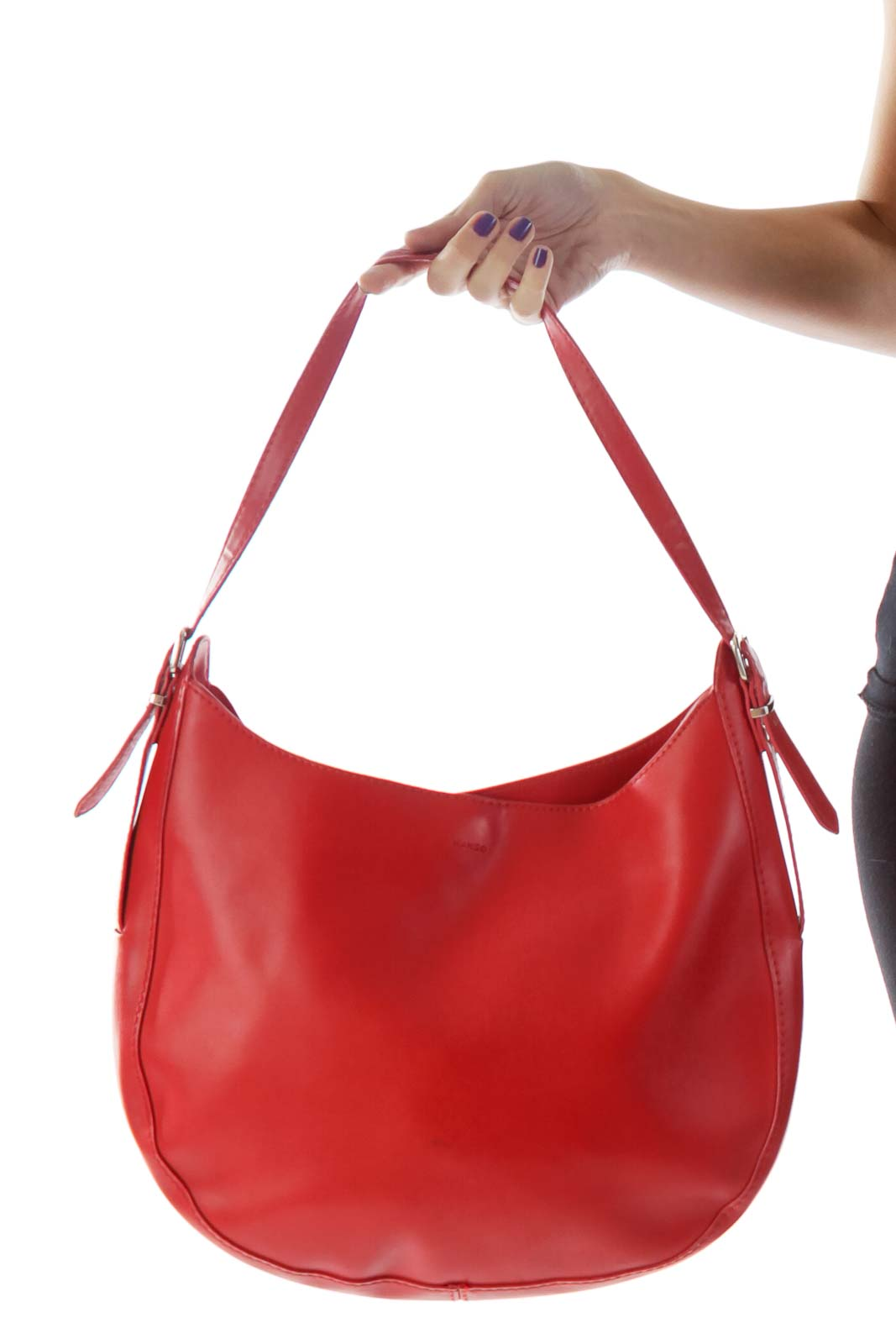 Red Faux-Leather Boho Shoulder Bag Front