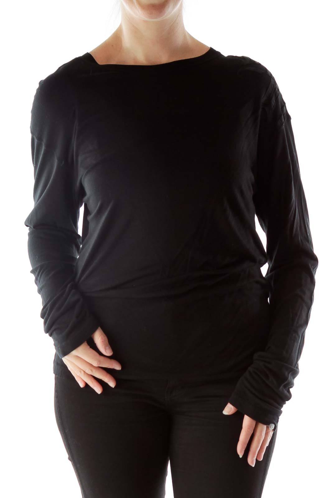 Black Embroidered Long Sleeve Top Front
