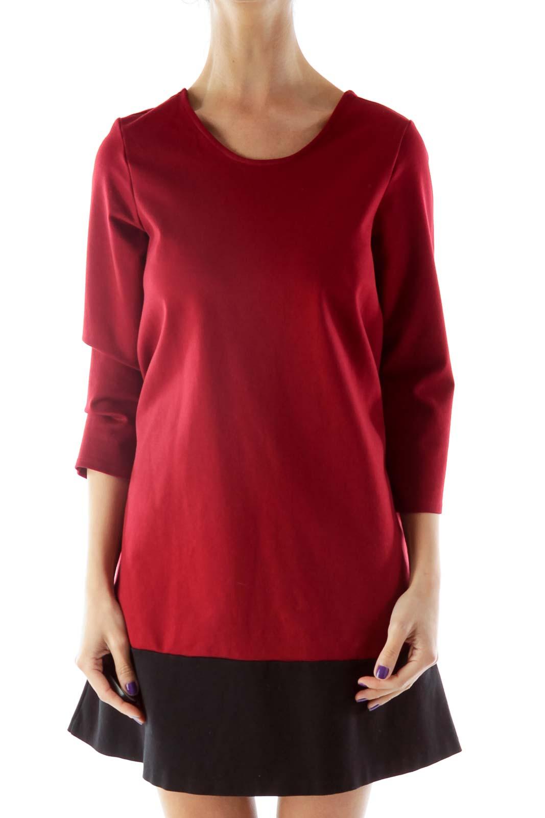 Red Black Bicolor Shift Dress Front