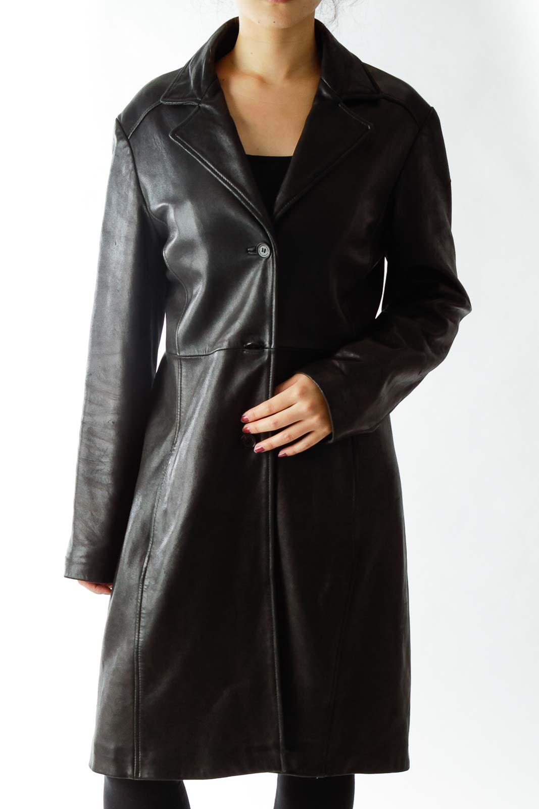 Black Singled Breasted Leather Coat Front