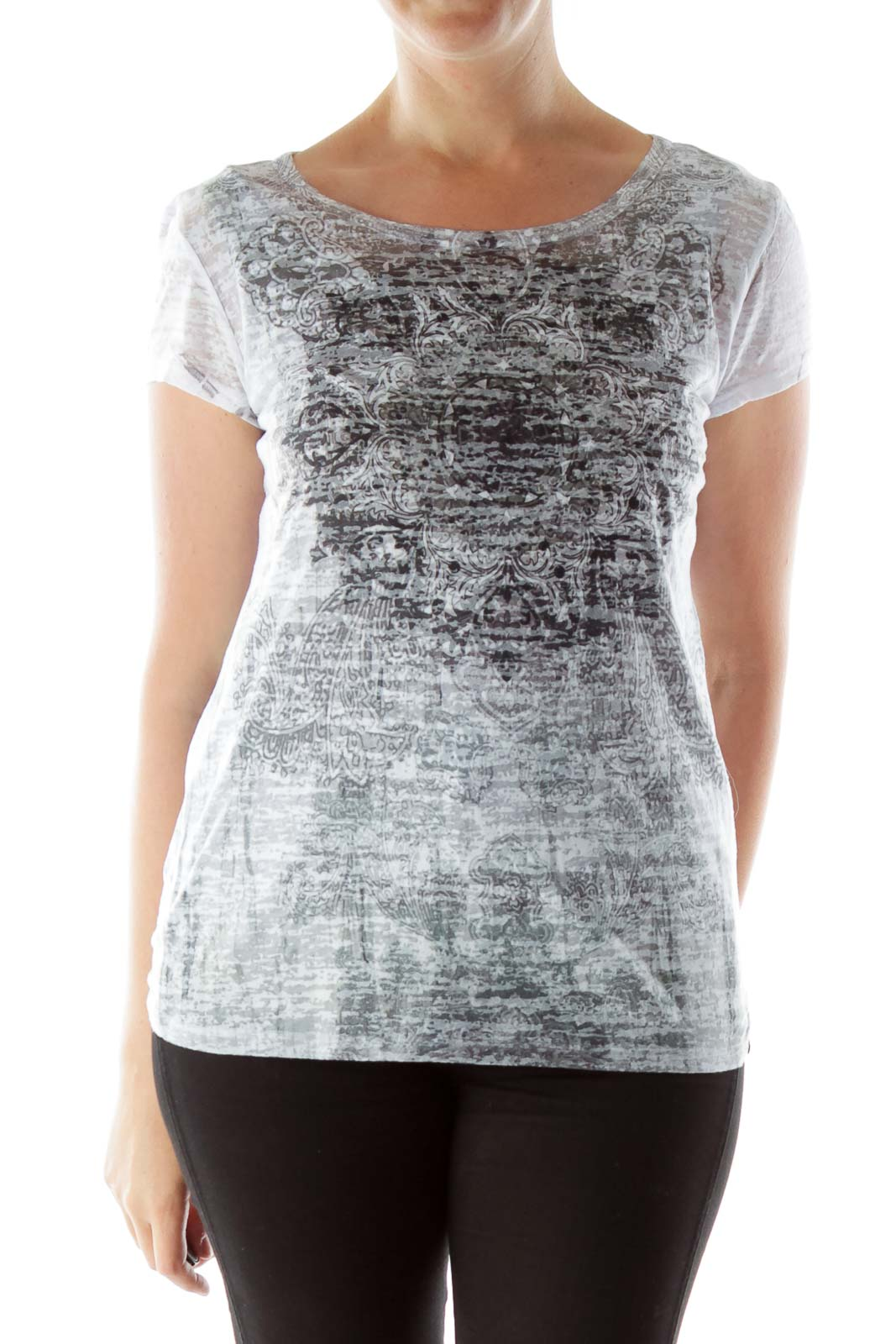 Gray & White Printed Burn Out T Shirt Front