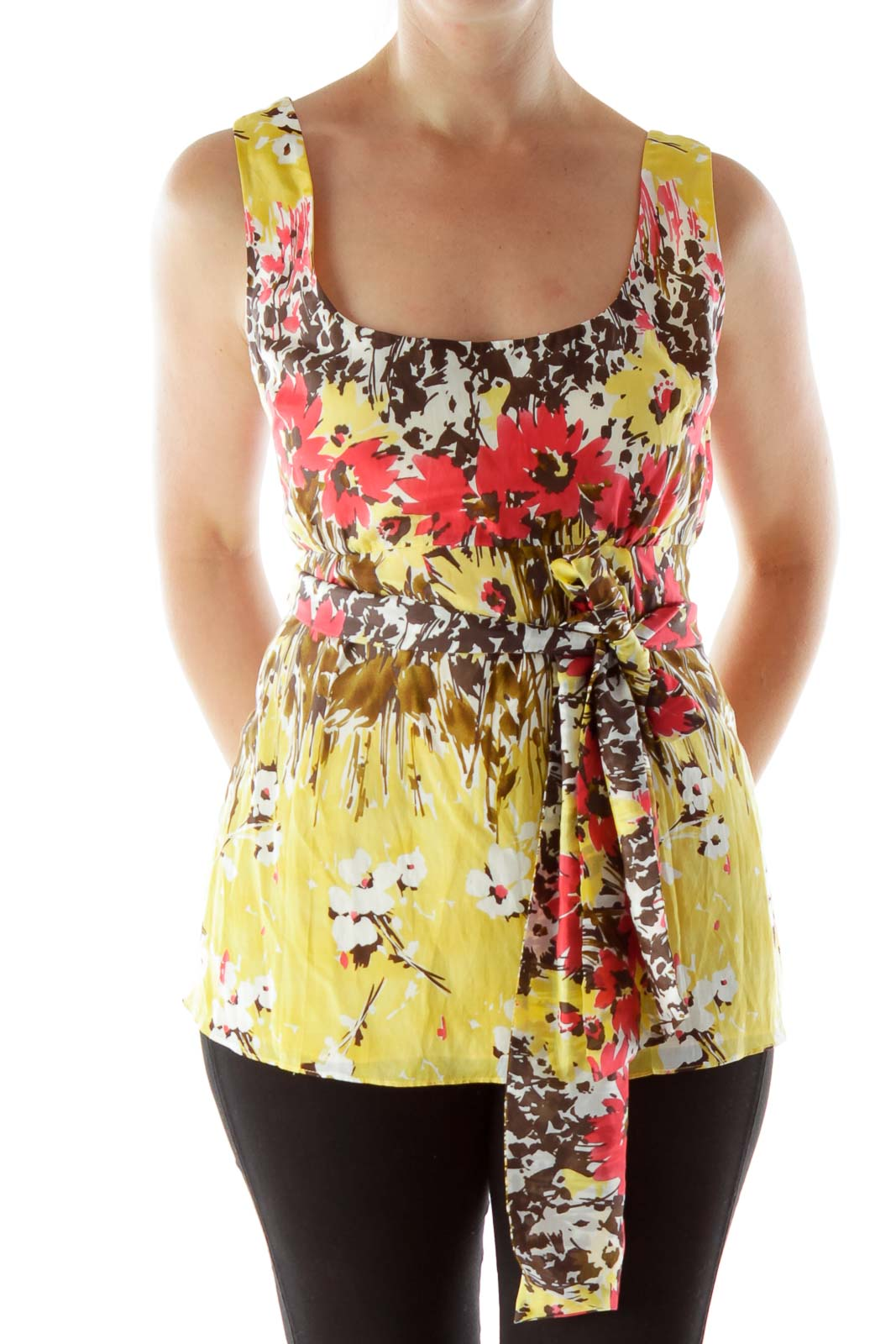 Multicolored Tank Top with Tie Front
