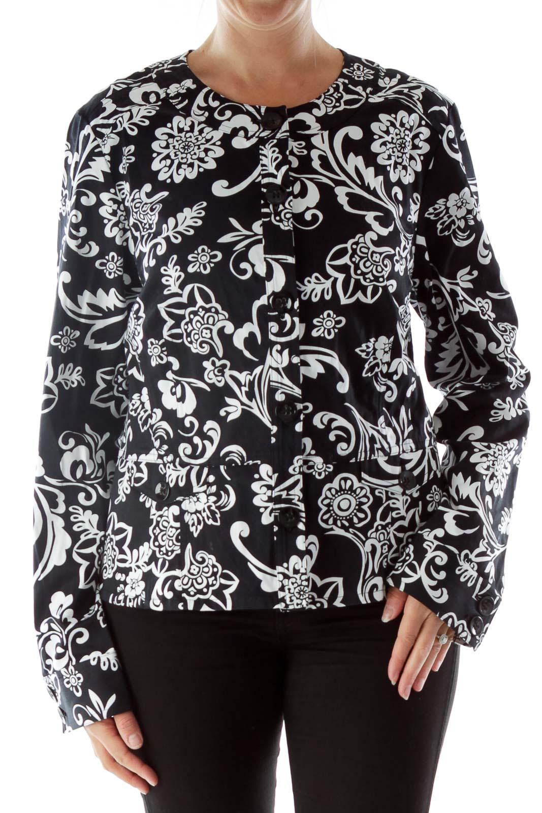 Black and White Printed Long Sleeve Front