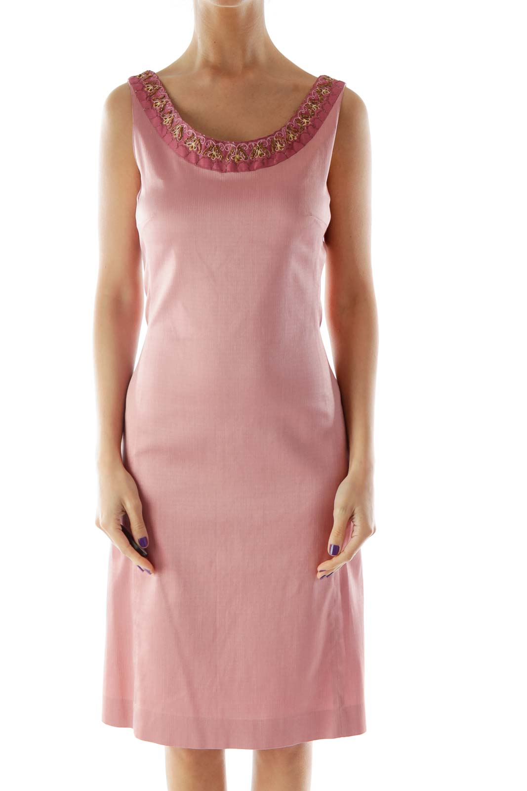 Pink Beaded Embroidered Dress Front