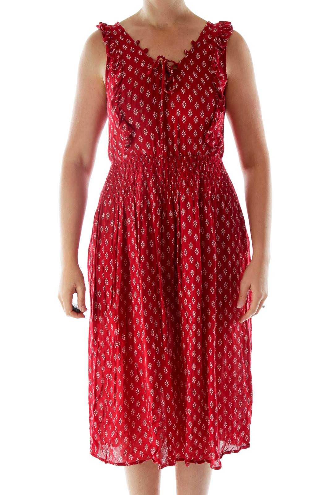 Red Printed Lace Up Dress Front